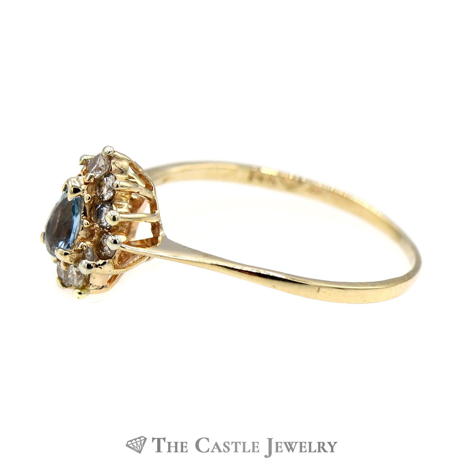 Petite Pear Shaped Topaz Ring with Diamond Halo-2