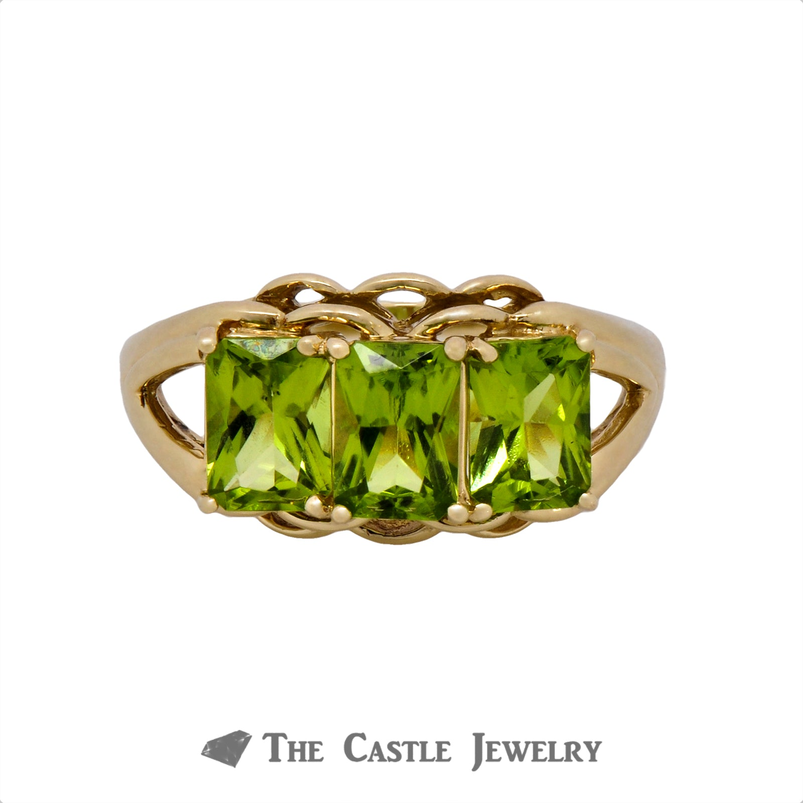 Lovely Three Stone Emerald Cut Peridot Ring Crafted in 14k Yellow Gold