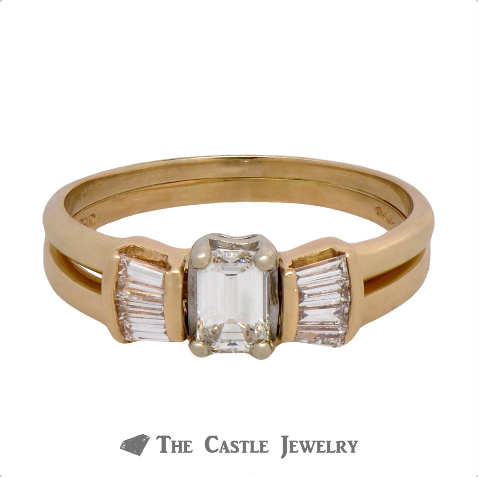 Emerald Cut Bridal Set with Baguette Accents Crafted in 14k Yellow Gold