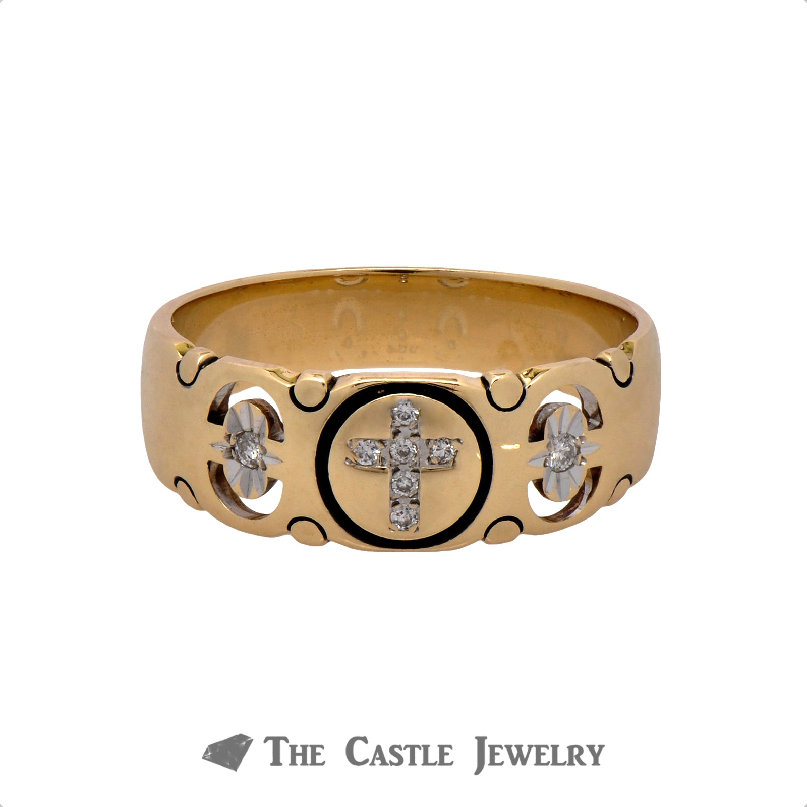 Cross Designed .07cttw Diamond Wedding Band in 14k Yellow Gold