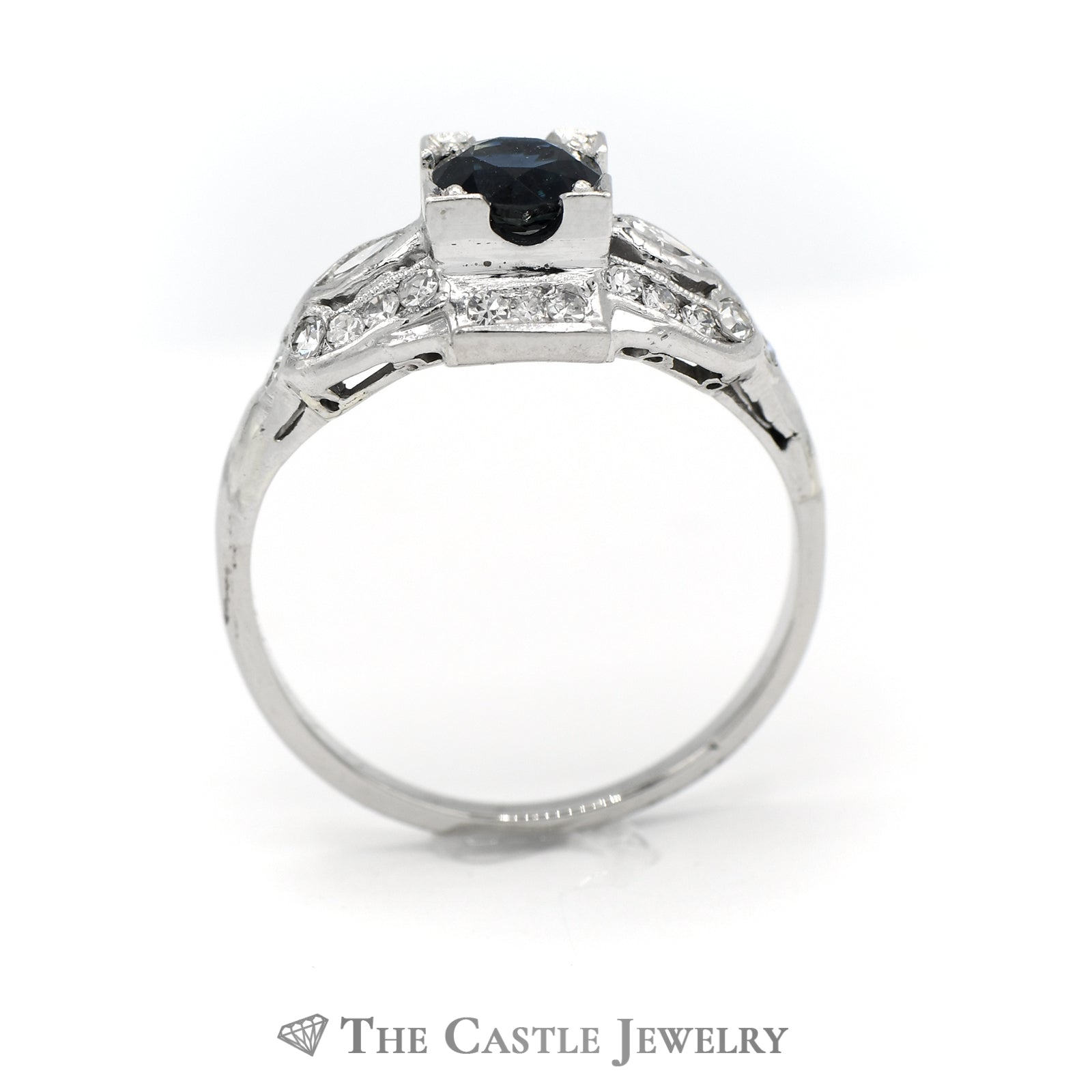 Antique Style Sapphire And Diamond Ring in 14K White Gold-1