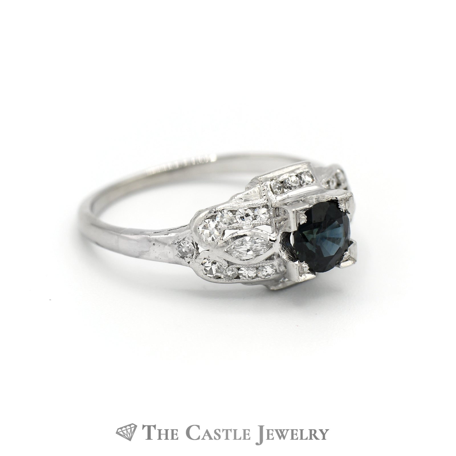 Antique Style Sapphire And Diamond Ring in 14K White Gold-2