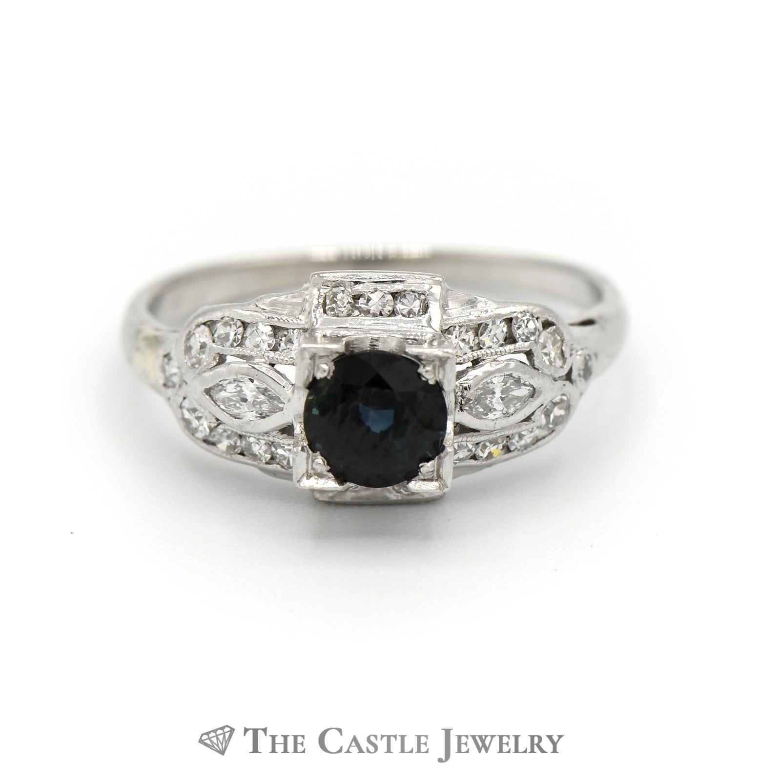 Antique Style Sapphire And Diamond Ring in 14K White Gold