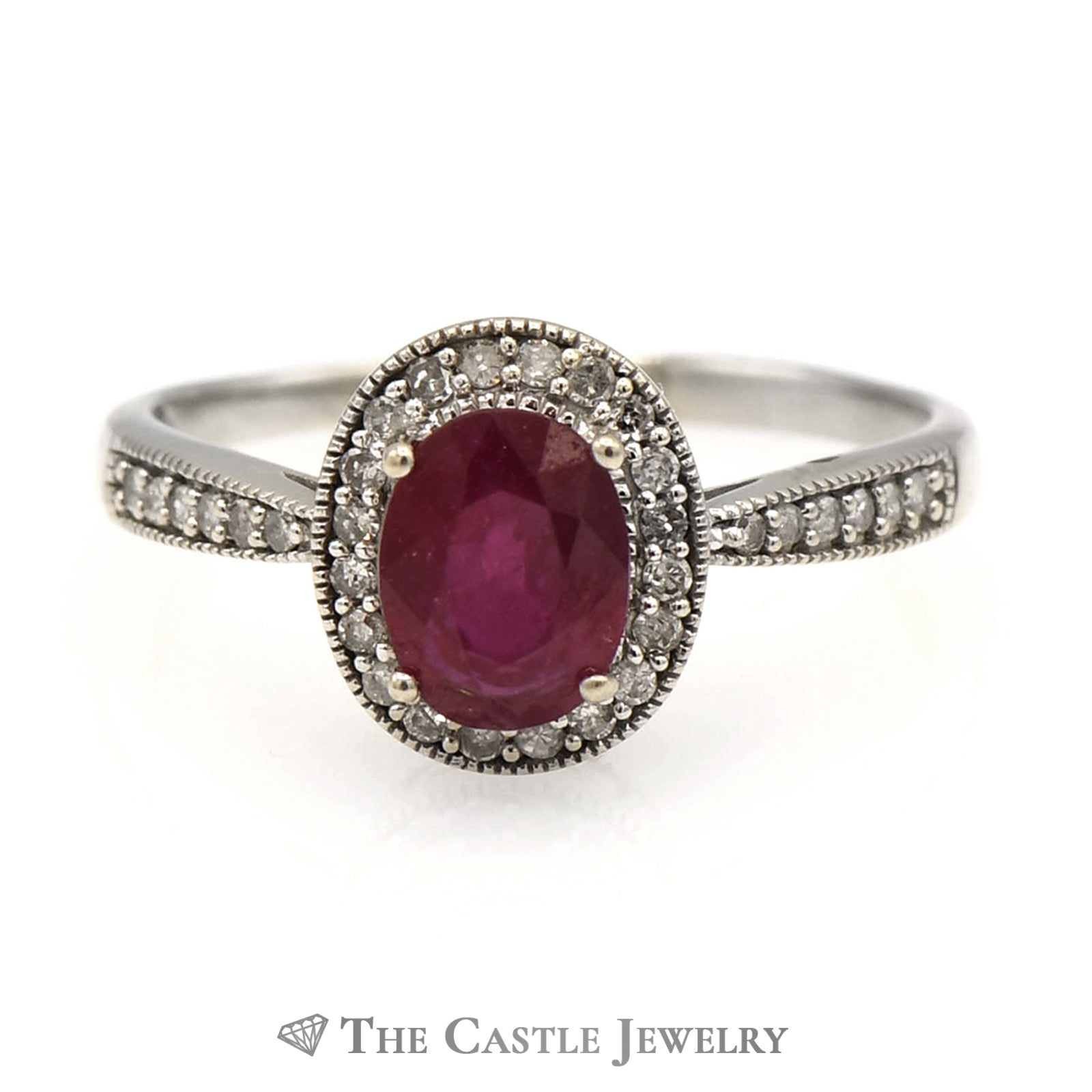 Oval Ruby in Diamond Engagement Ring Mounting