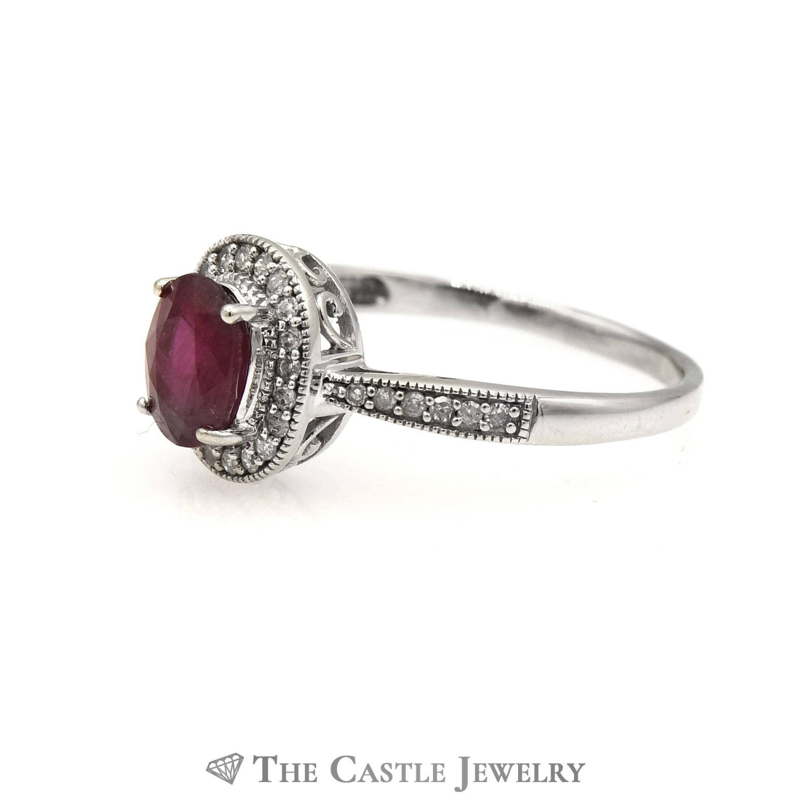 Oval Ruby in Diamond Engagement Ring Mounting-2