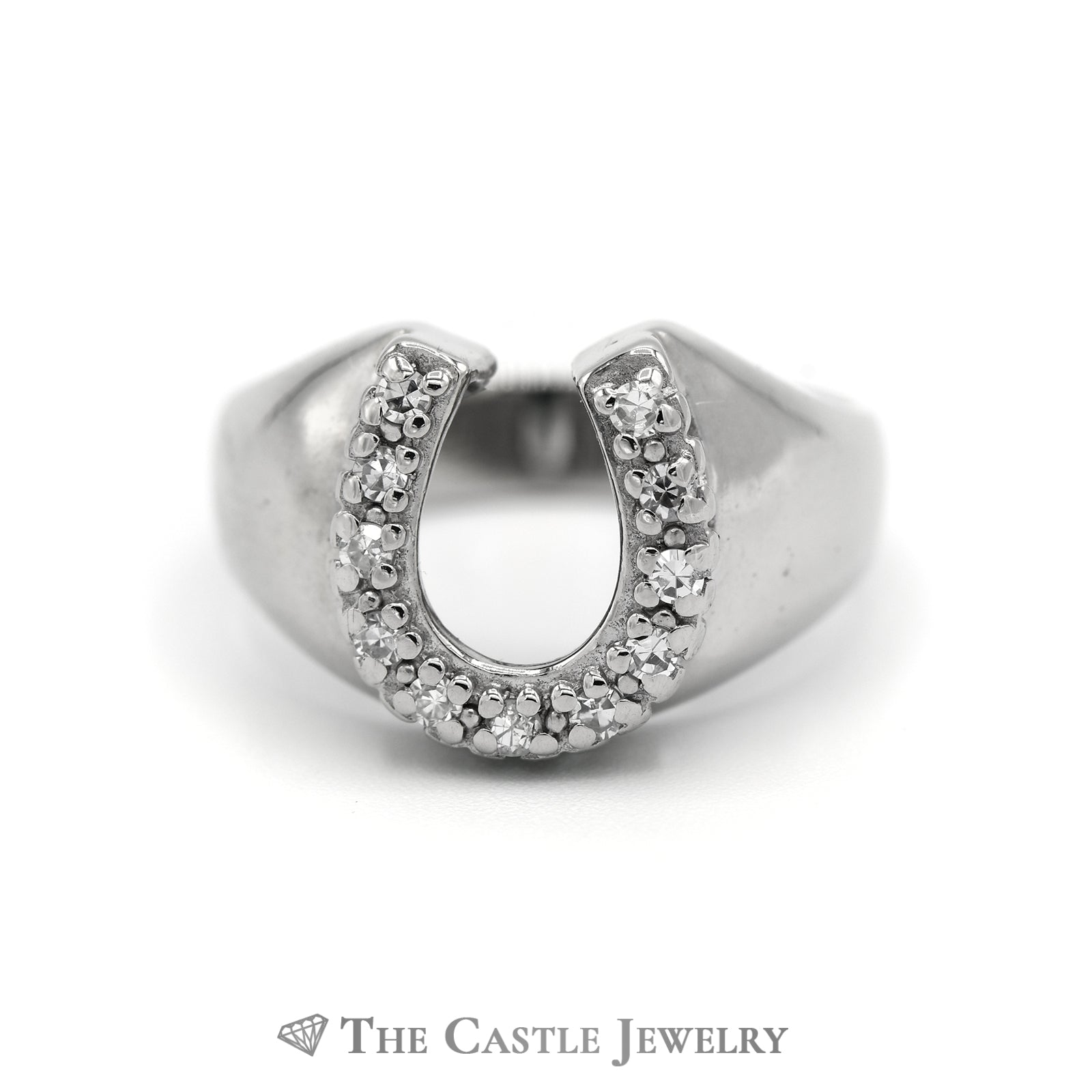 Round Diamond 1/4cttw Horse Shoe Ring in 14k White Gold Mounting