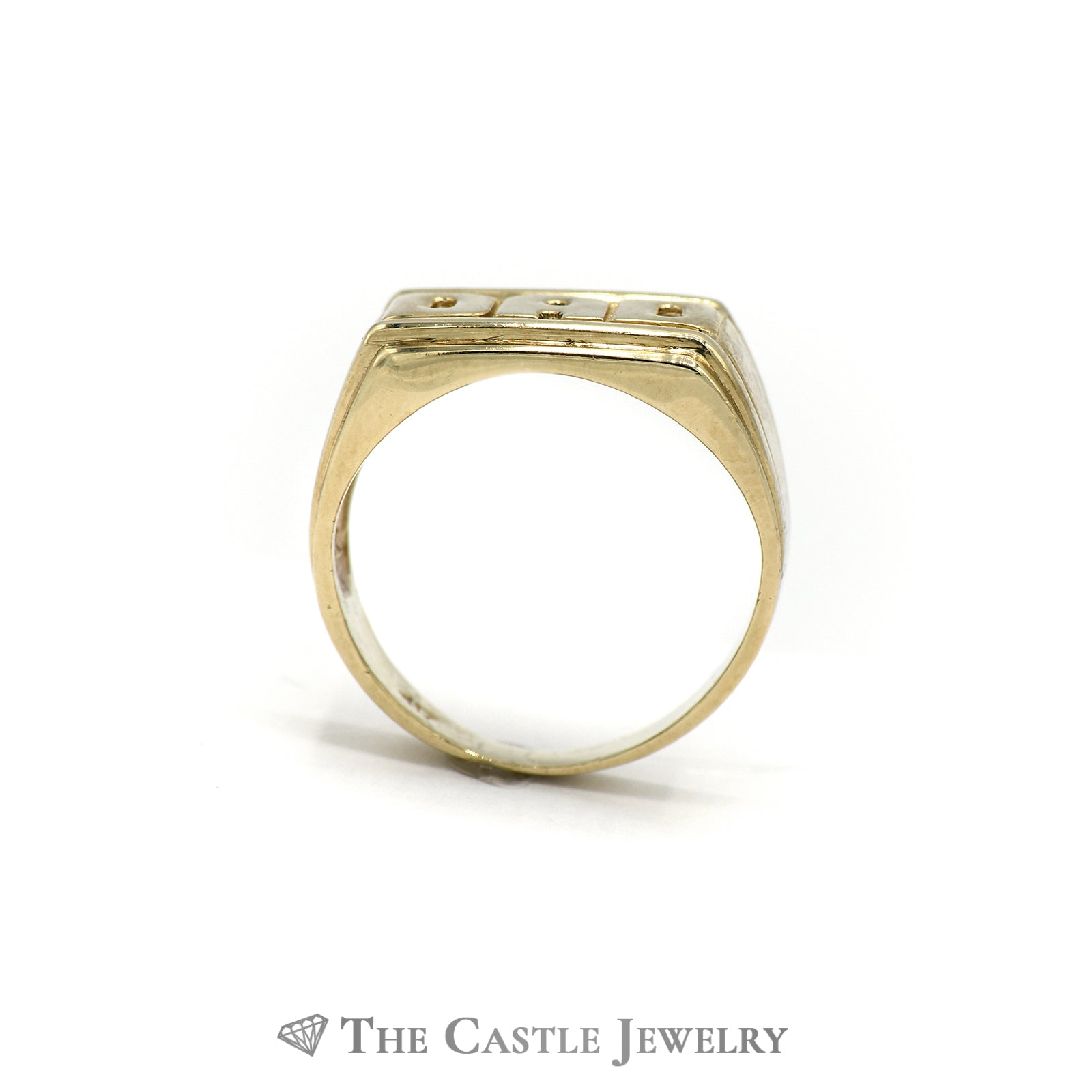 "Perfect ""DAD"" Ring with Grooved Sides and a Tapered band in 10k Yellow Gold-1"