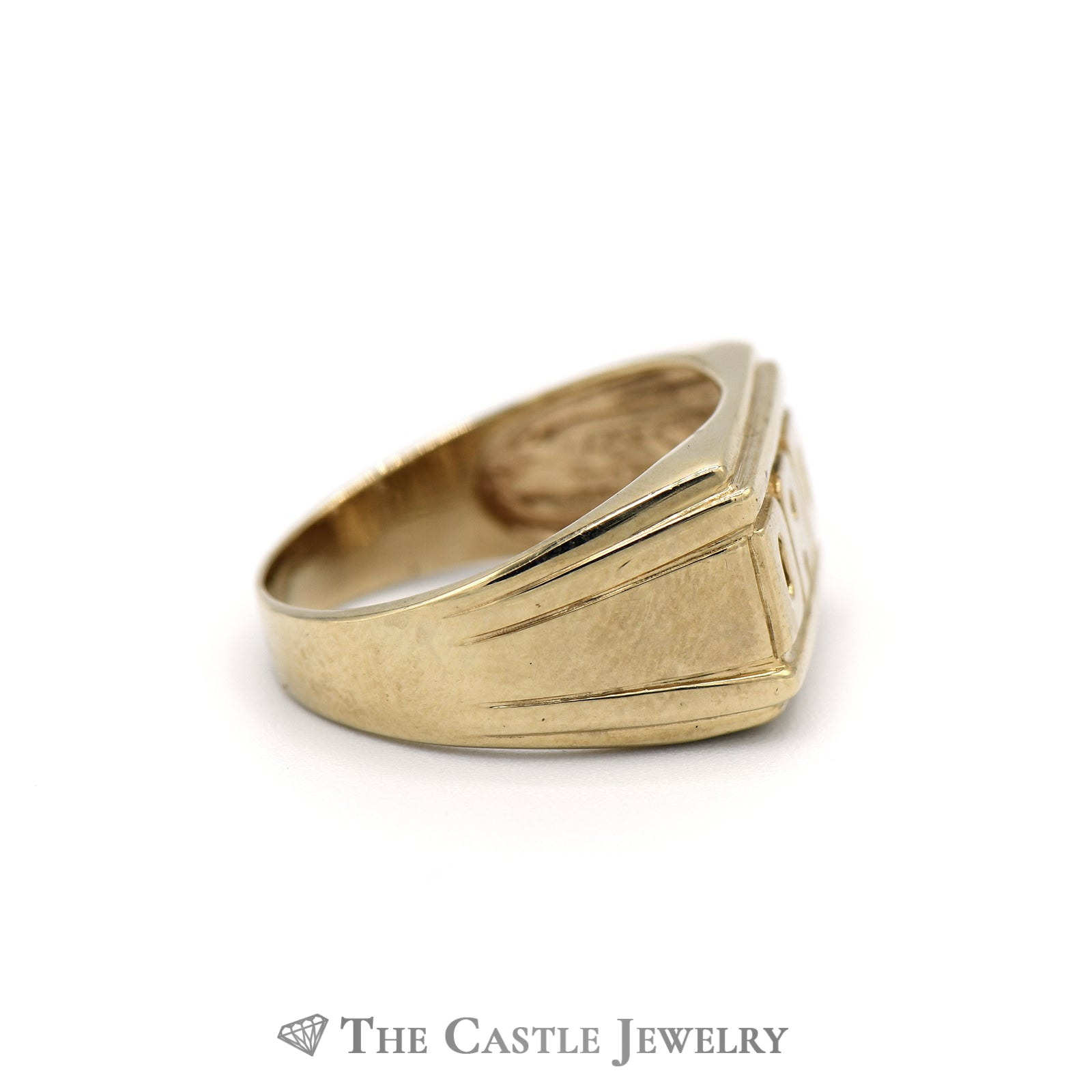 "Perfect ""DAD"" Ring with Grooved Sides and a Tapered band in 10k Yellow Gold-2"