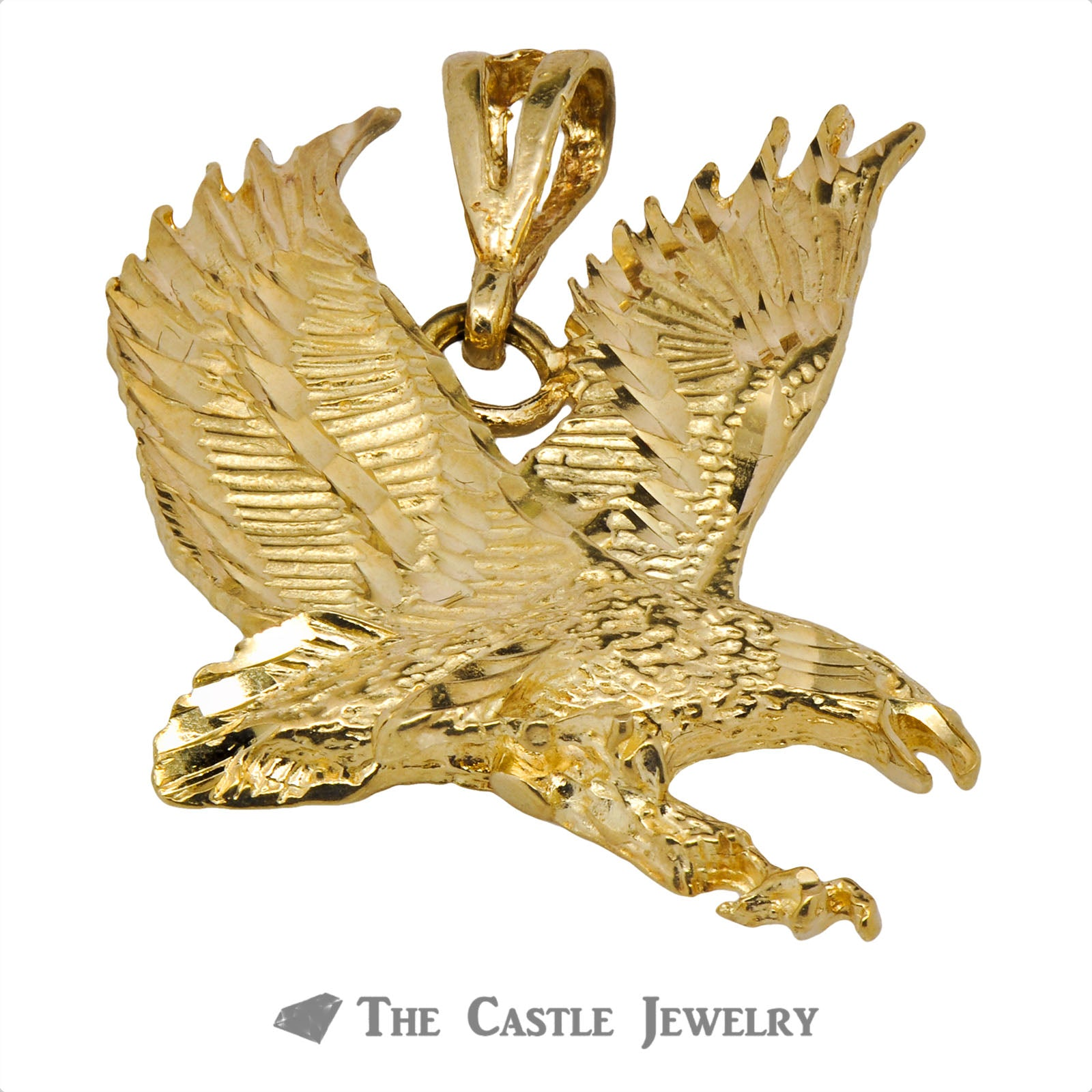 Diamond Cut Flying Eagle Pendant-0