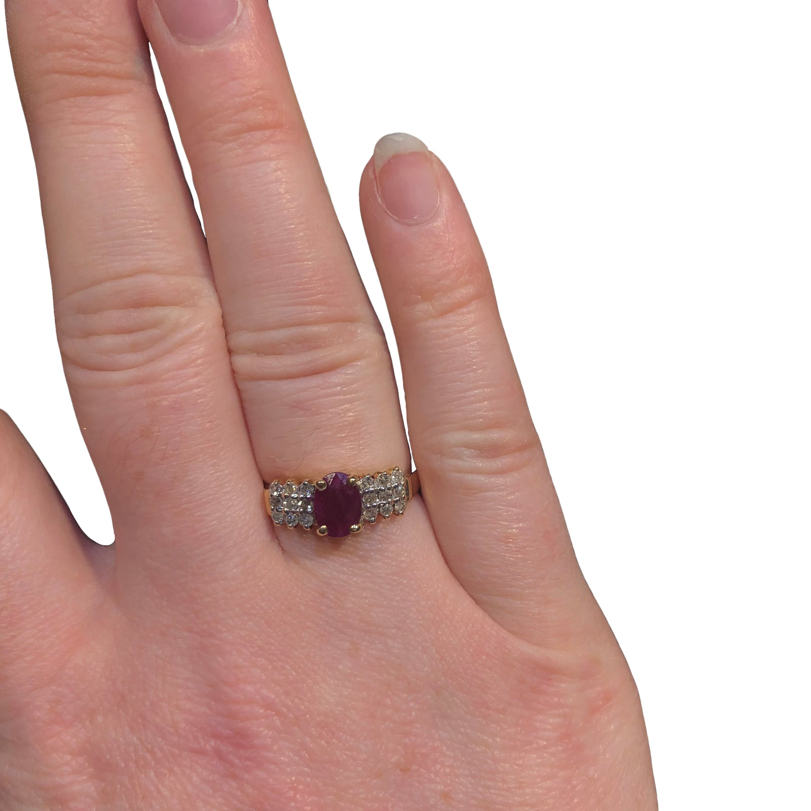 Oval Ruby Ring with Round Diamond Triple Row Accents in 10K Yellow Gold-3
