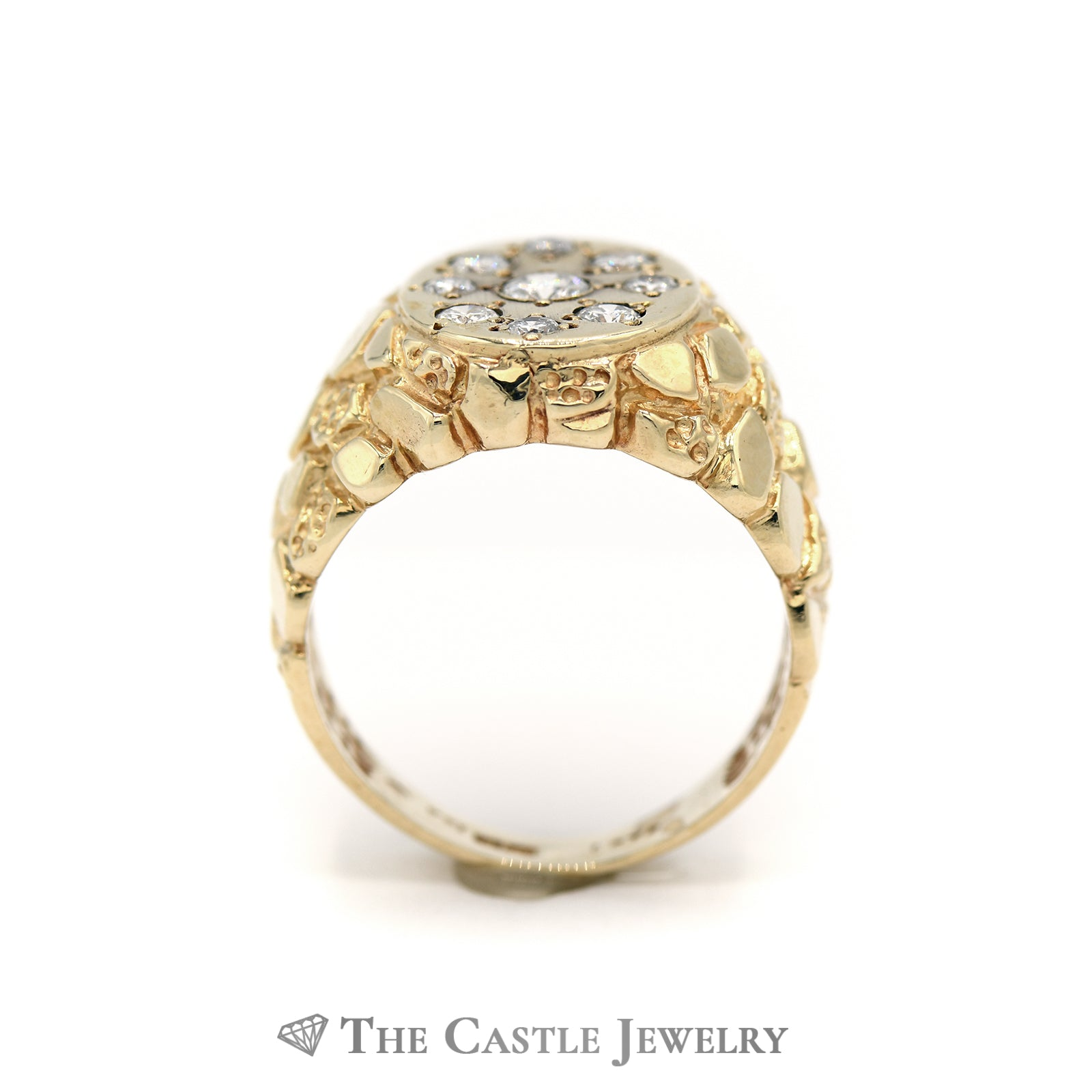 Gent's Oval .75cttw Oval Cluster Ring with Nugget Sides in 14K Yellow Gold-1