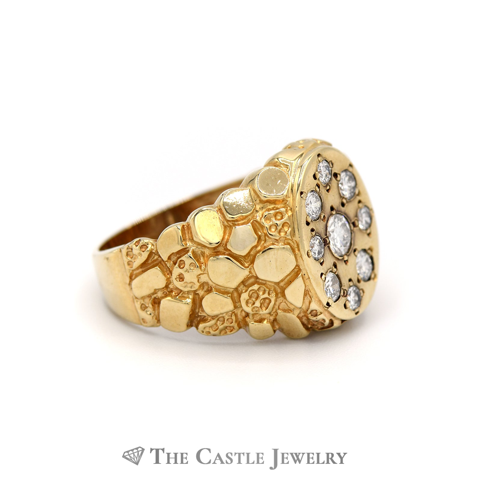 Gent's Oval .75cttw Oval Cluster Ring with Nugget Sides in 14K Yellow Gold-2