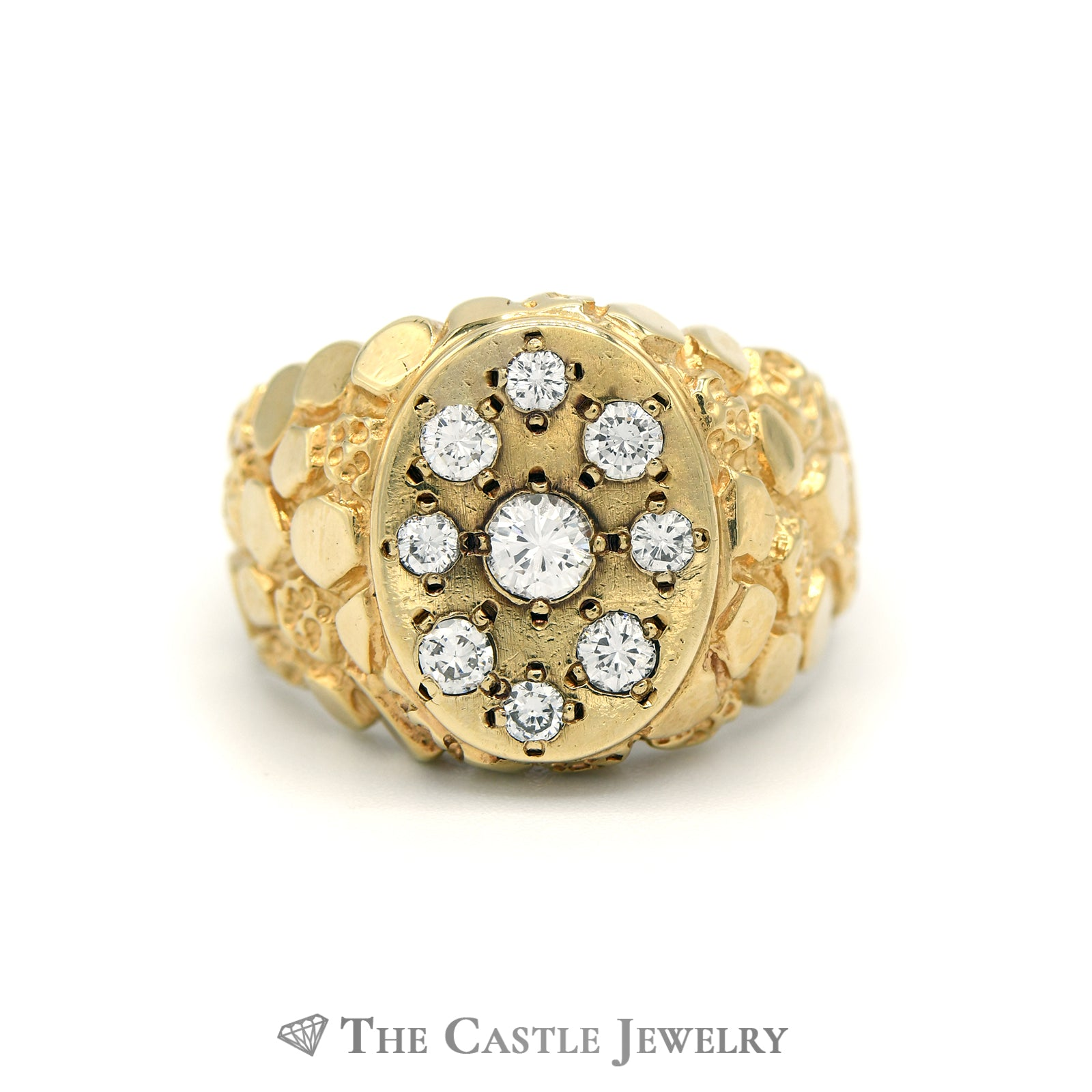 Gent's Oval .75cttw Oval Cluster Ring with Nugget Sides in 14K Yellow Gold
