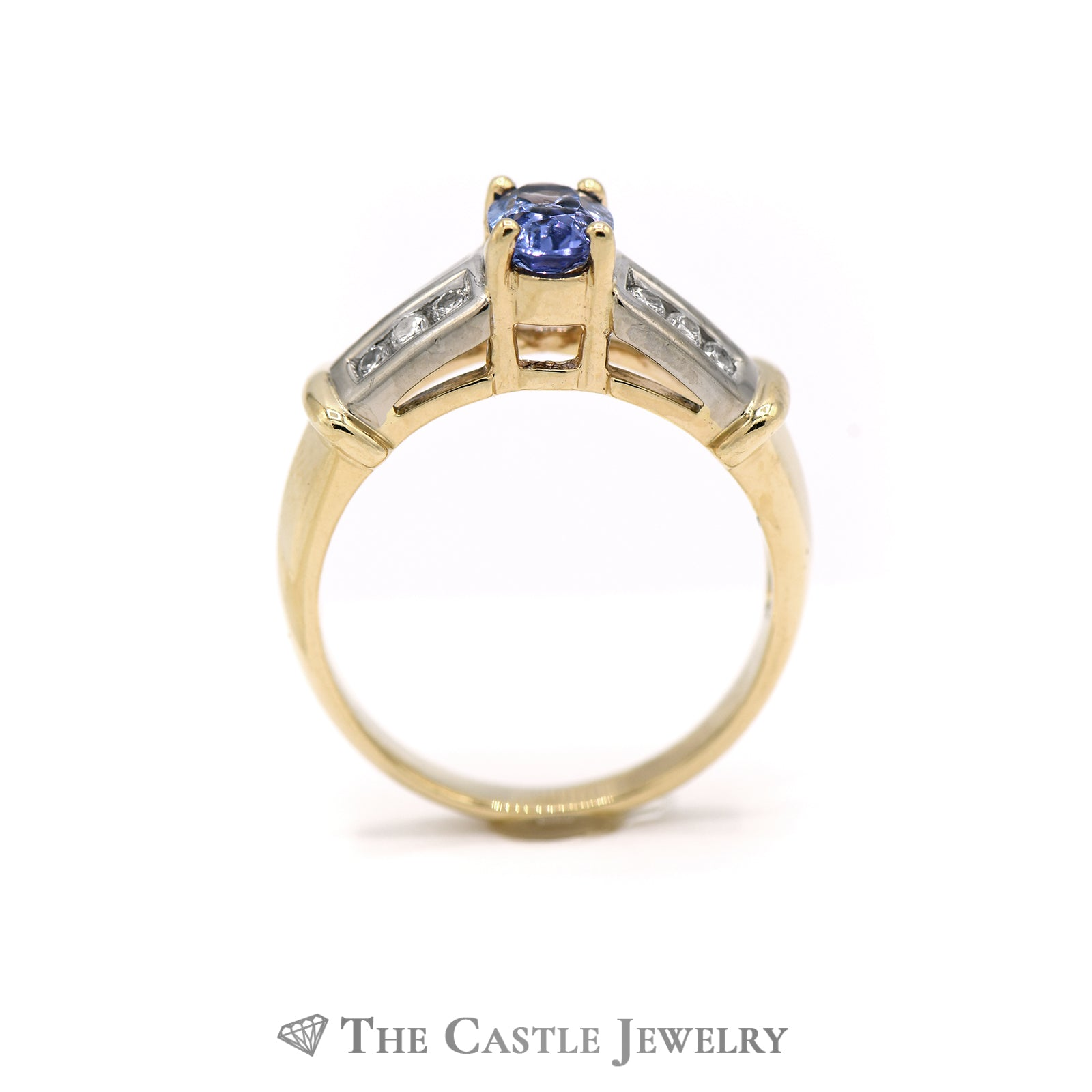 Gorgeous Oval Tanzanite Ring, Round Brilliant Cut Diamond Sides in Yellow Gold-1