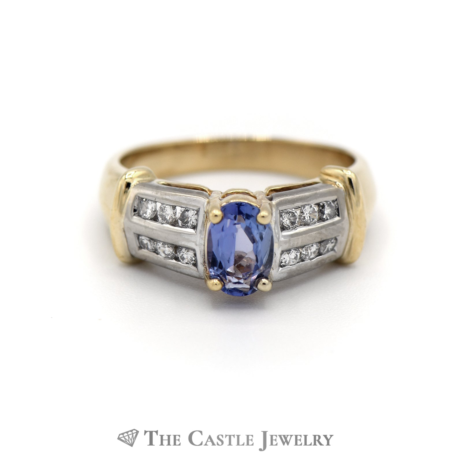 Gorgeous Oval Tanzanite Ring, Round Brilliant Cut Diamond Sides in Yellow Gold