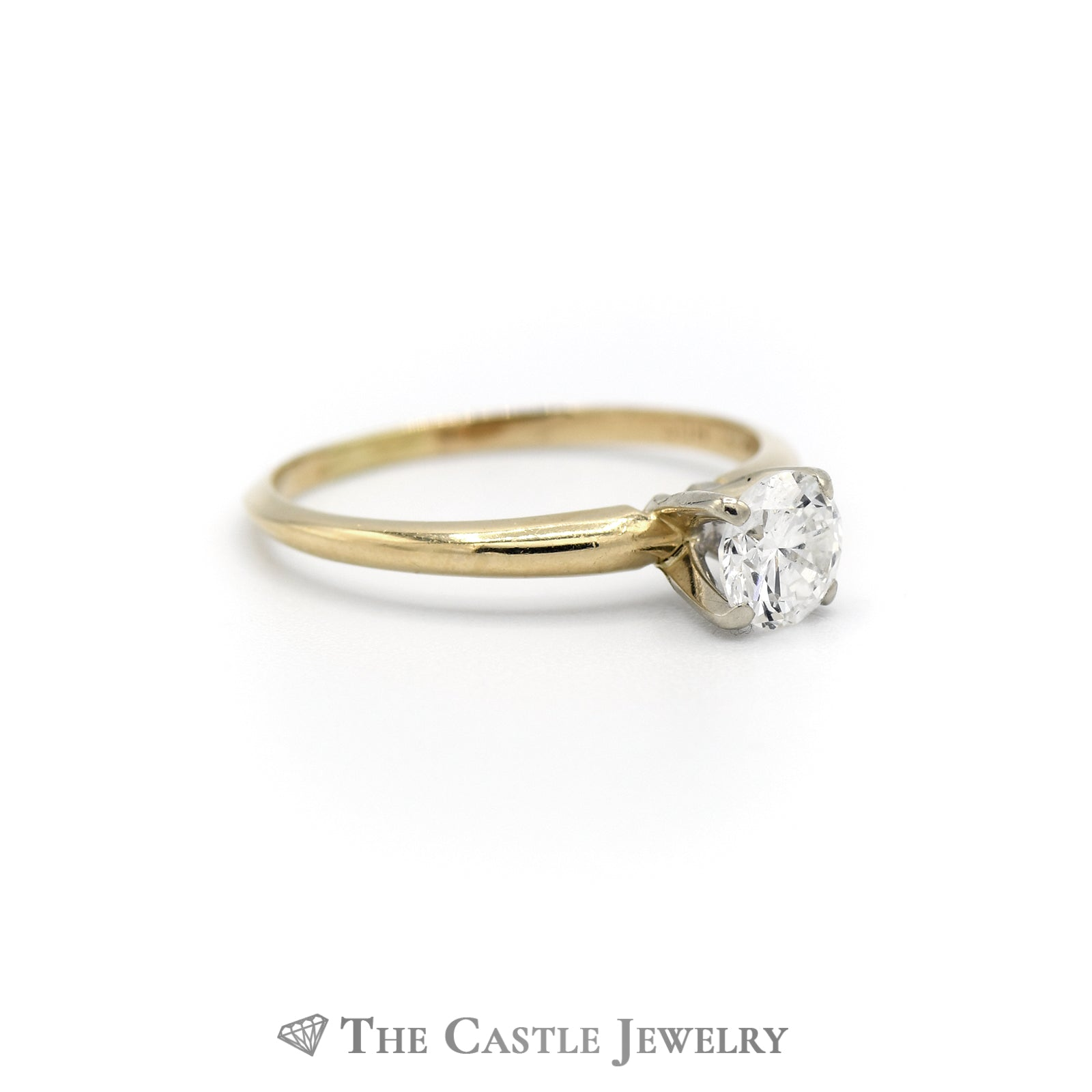 Round Brilliant Cut .50carat Diamond Engagement Ring SI2/H in 14K Yellow Gold-2