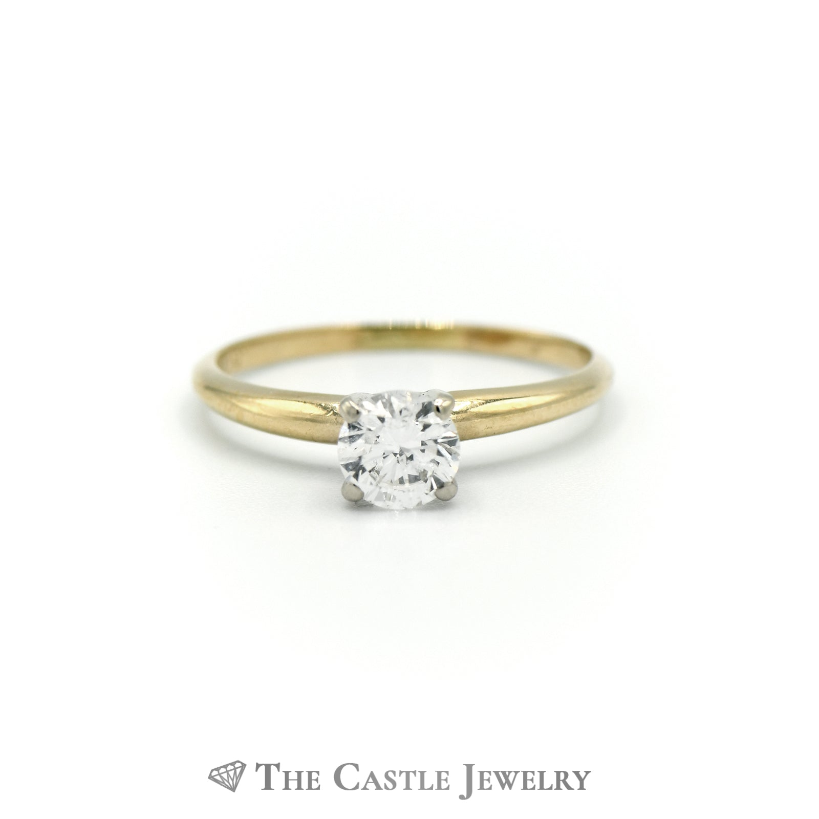 Round Brilliant Cut .50carat Diamond Engagement Ring SI2/H in 14K Yellow Gold