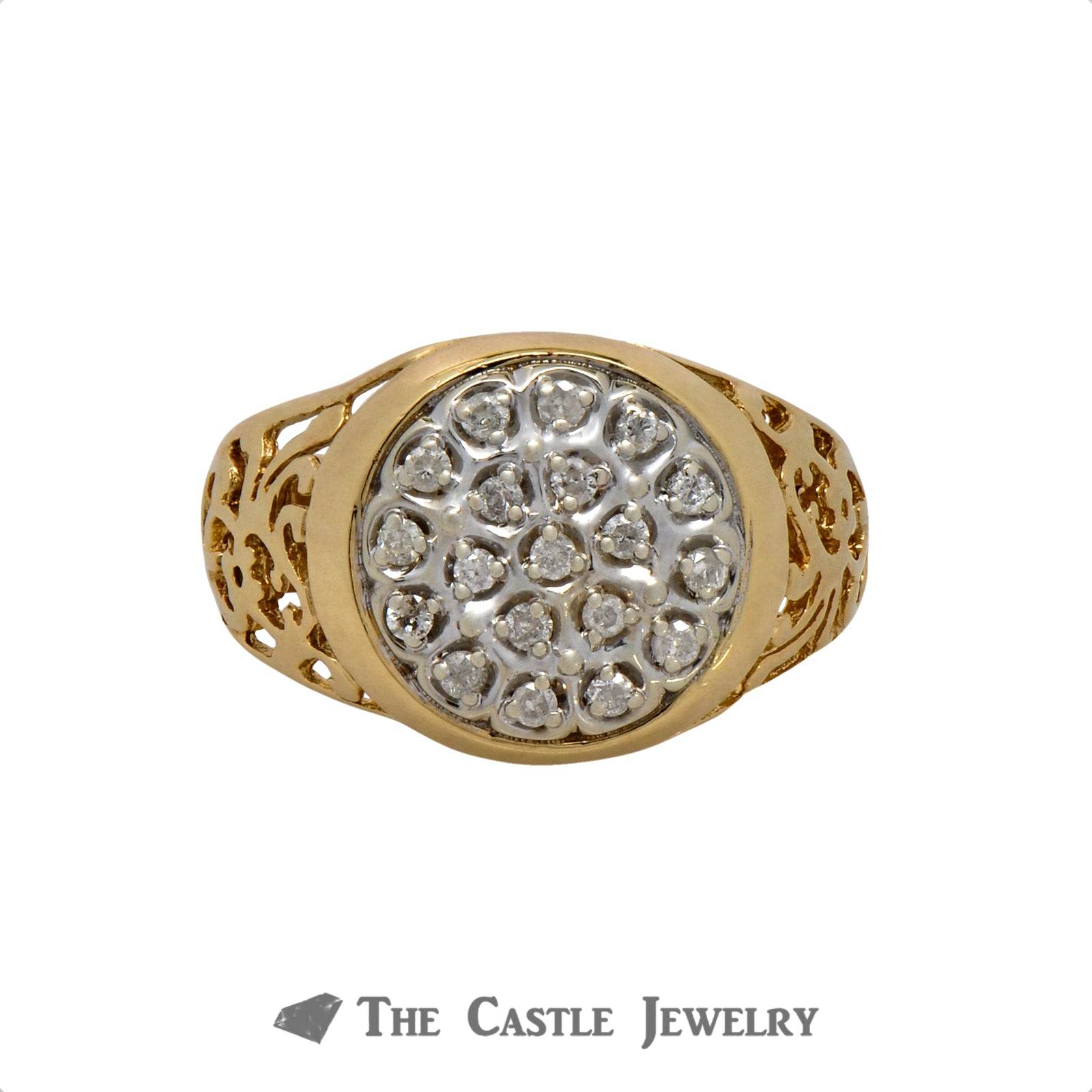.25cttw Diamond Kentucky Cluster Ring in 10k Yellow Gold