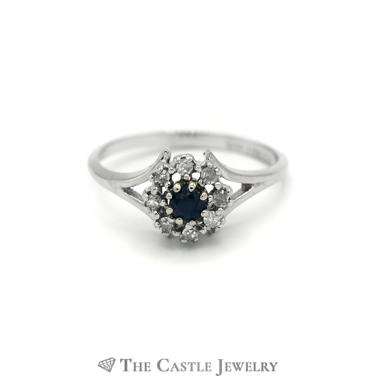 Lovely Round Sapphire Ring w/ Diamond Halo & Split Style Mounting in White Gold