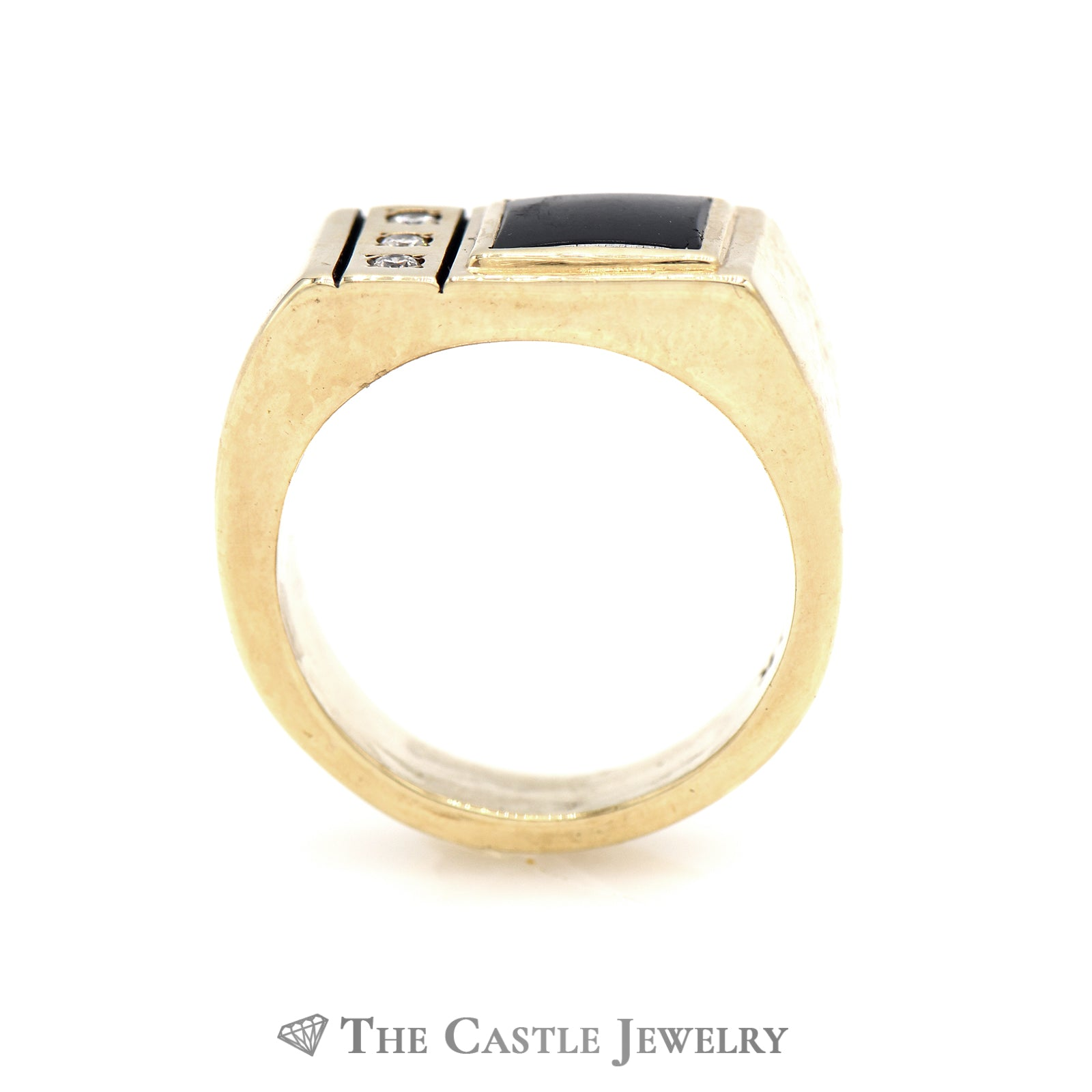 Square Black Onyx Ring with Diamond Accents in 10K Yellow Gold-1