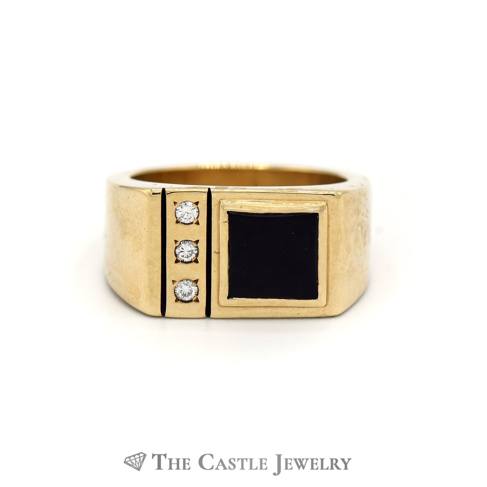 Square Black Onyx Ring with Diamond Accents in 10K Yellow Gold