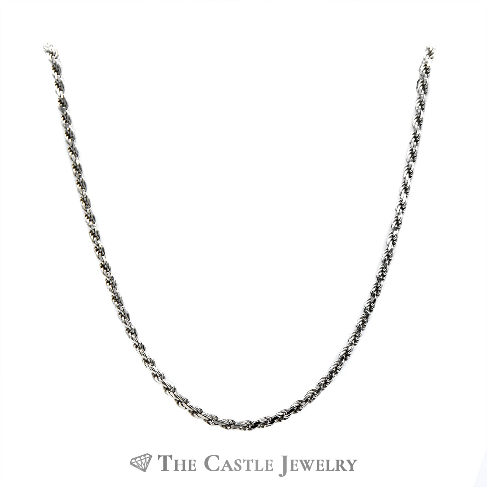 14k White Gold 34 Inch Rope Chain