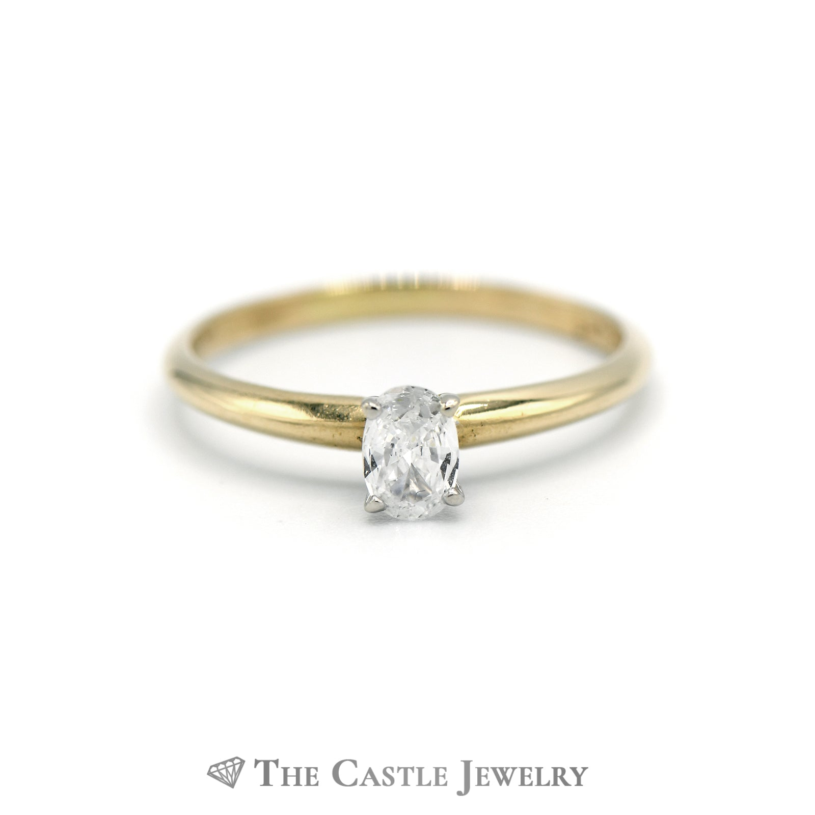 Oval Diamond Solitaire Engagement Ring in 14k Yellow Gold