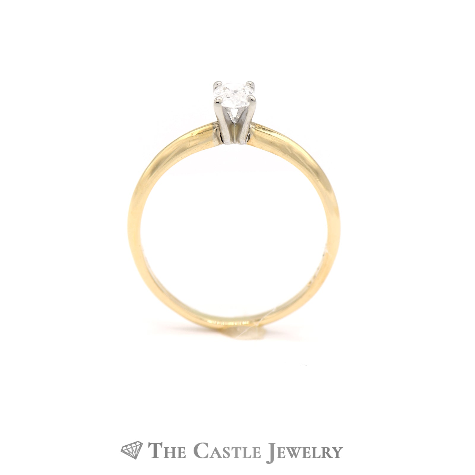 Oval Diamond Solitaire Engagement Ring in 14k Yellow Gold-1