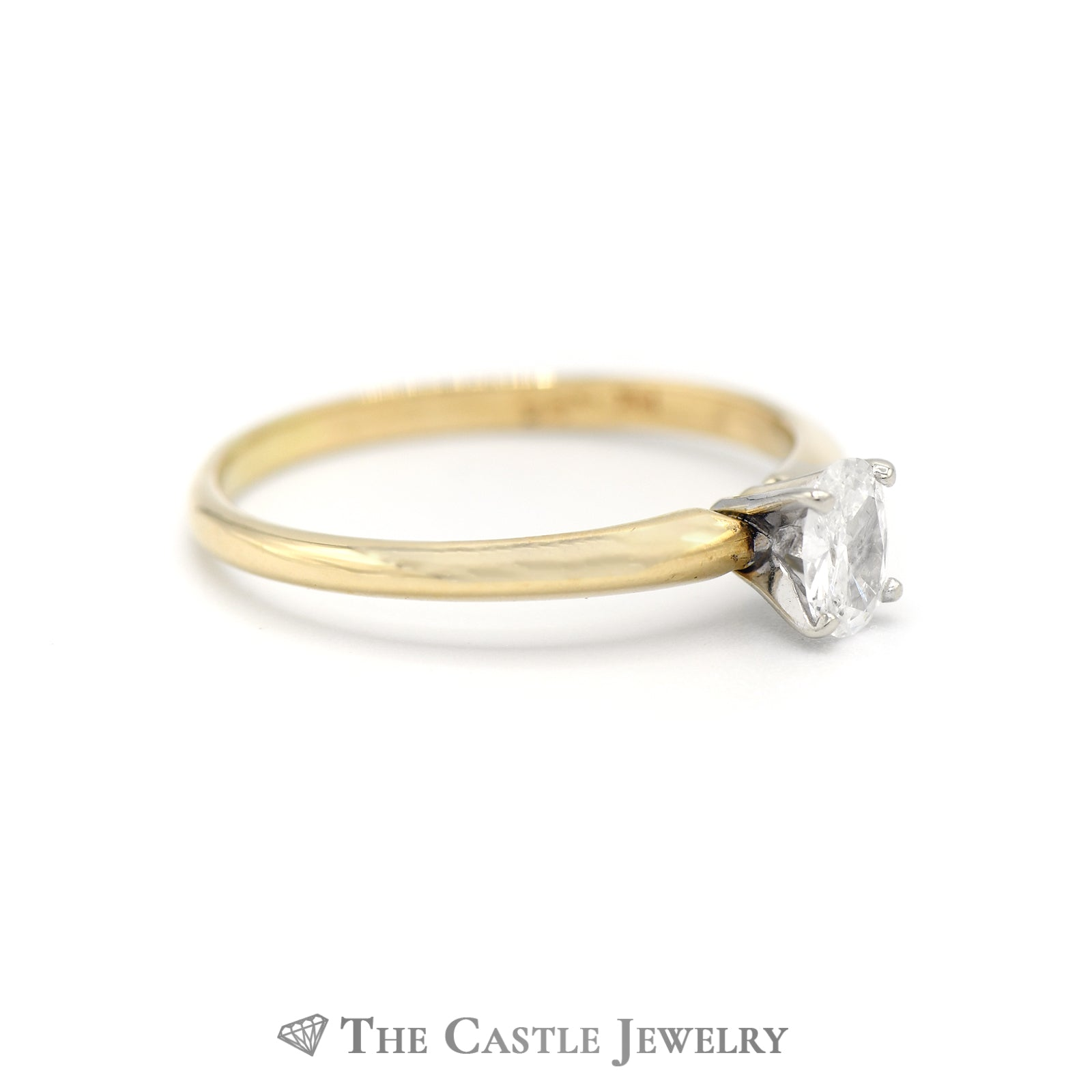 Oval Diamond Solitaire Engagement Ring in 14k Yellow Gold-2