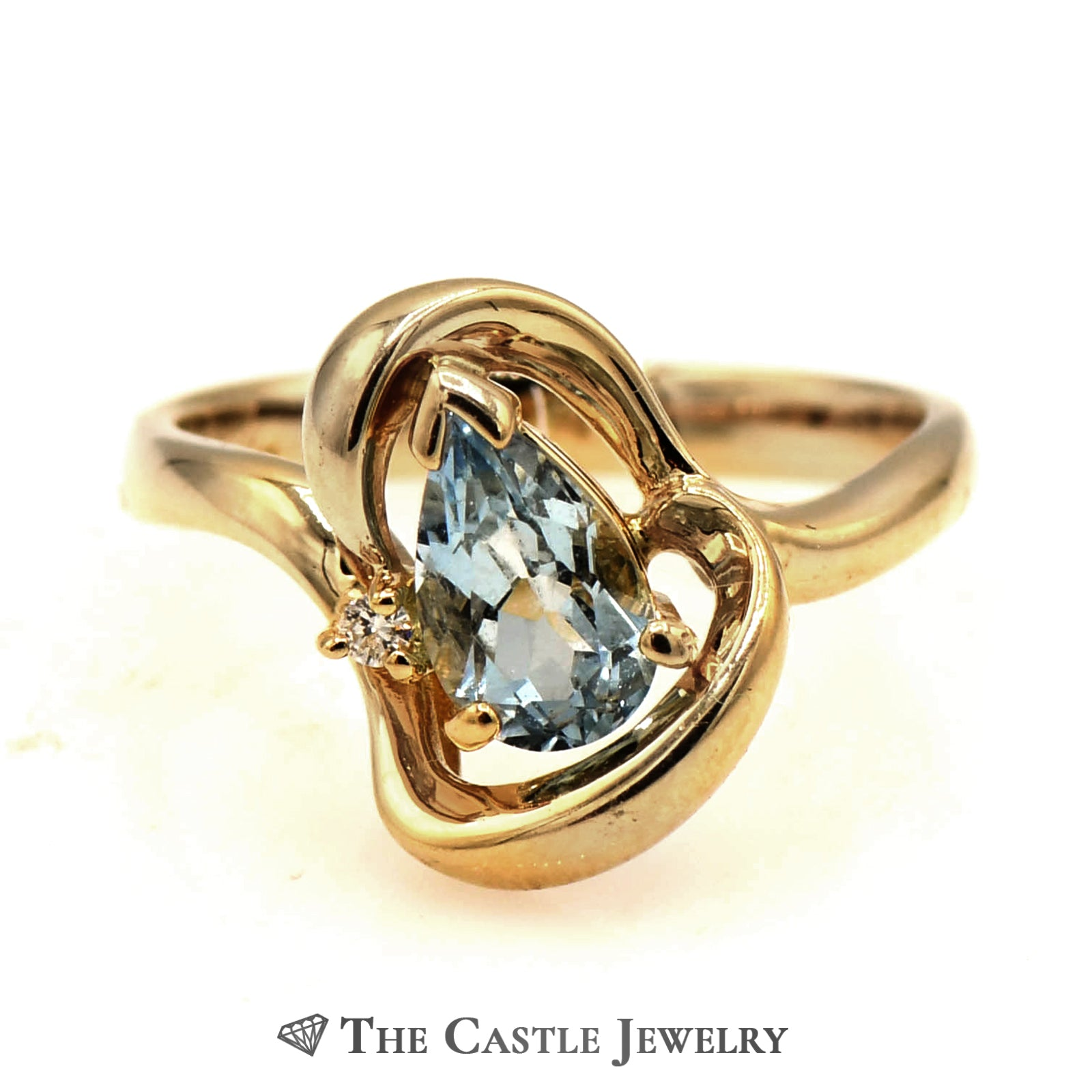 Ladies Free Form Diamond And Blue Topaz Ring In 14KT YG