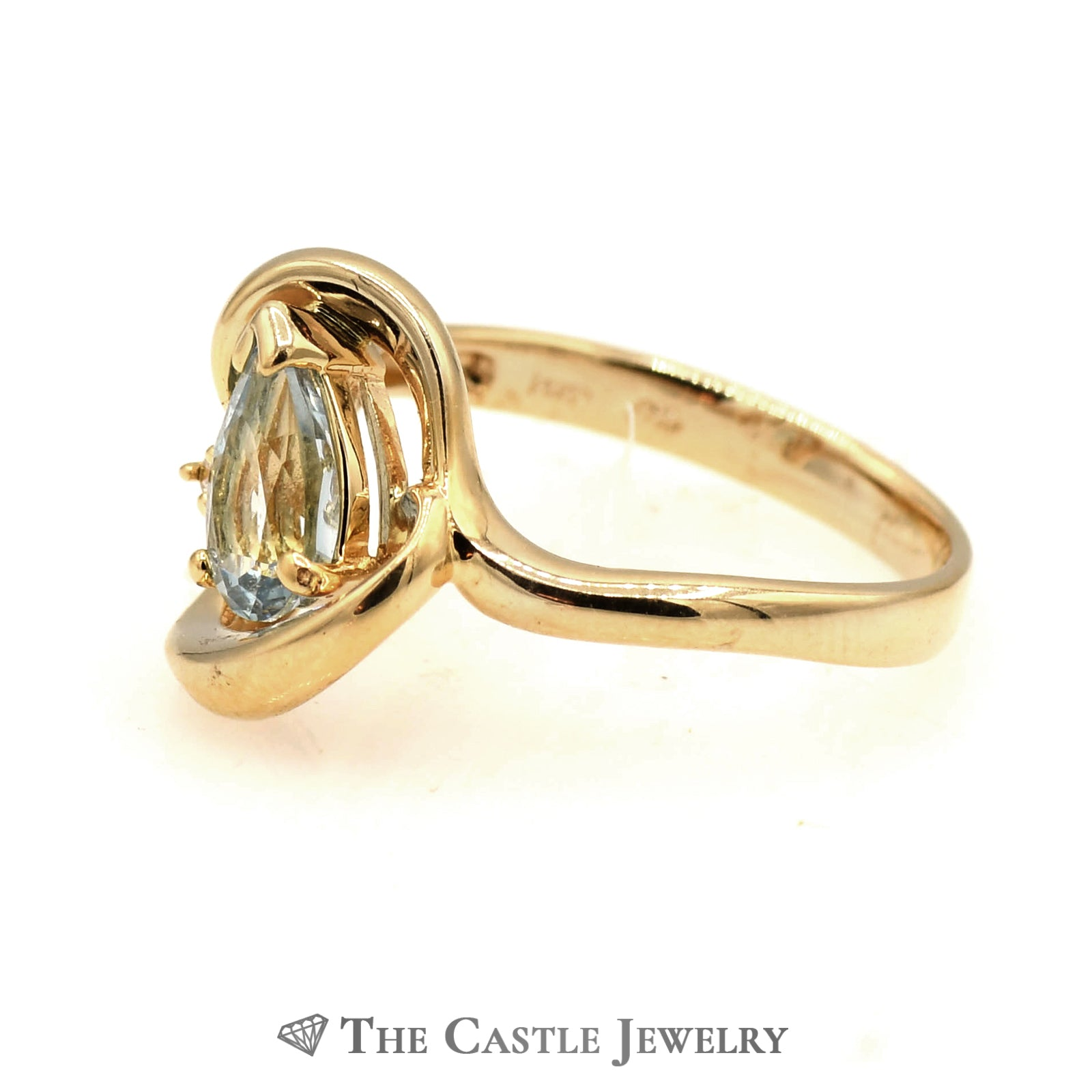 Ladies Free Form Diamond And Blue Topaz Ring In 14KT YG-2