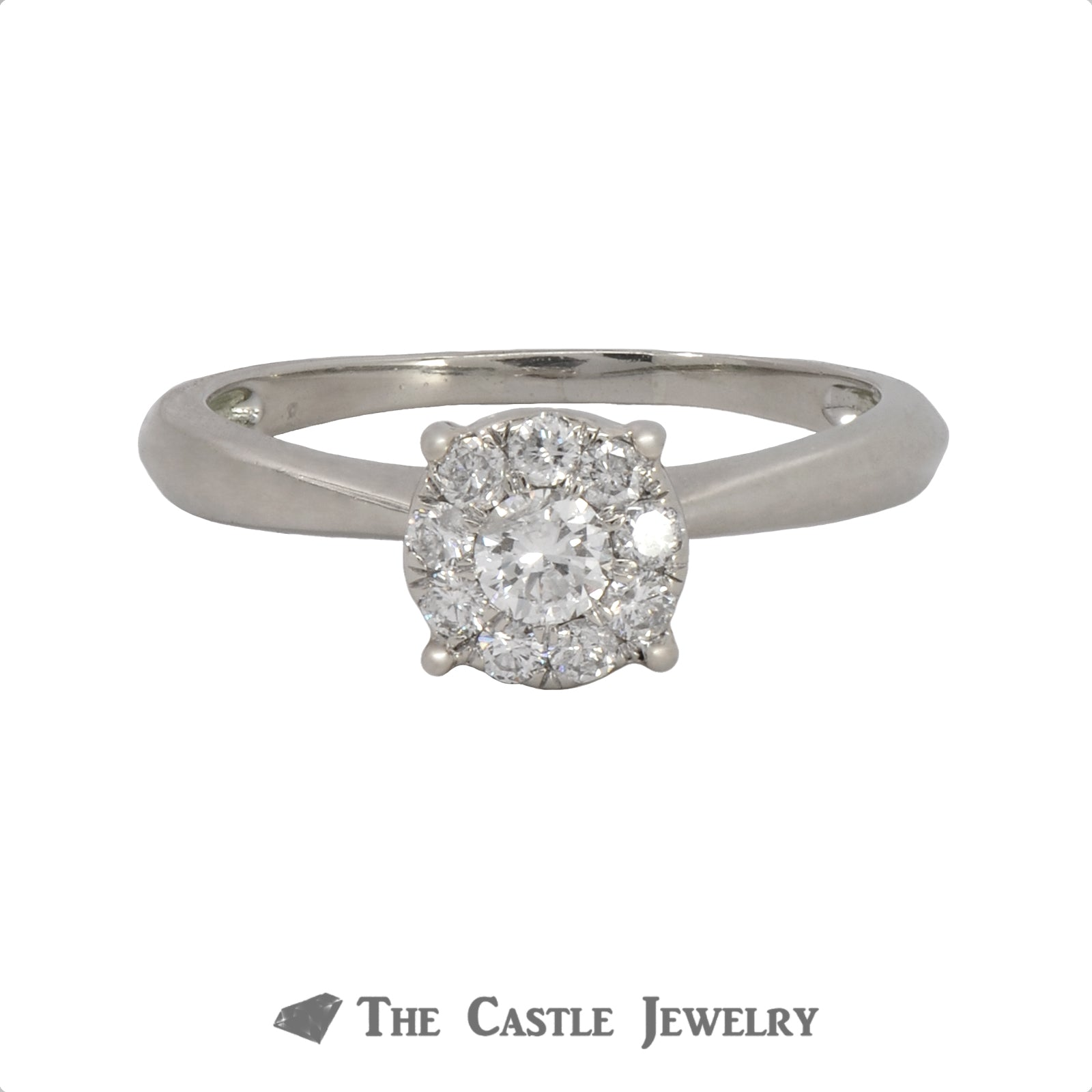 1/2cttw Diamond Cluster Ring in 14K White Gold Cathedral Mounting