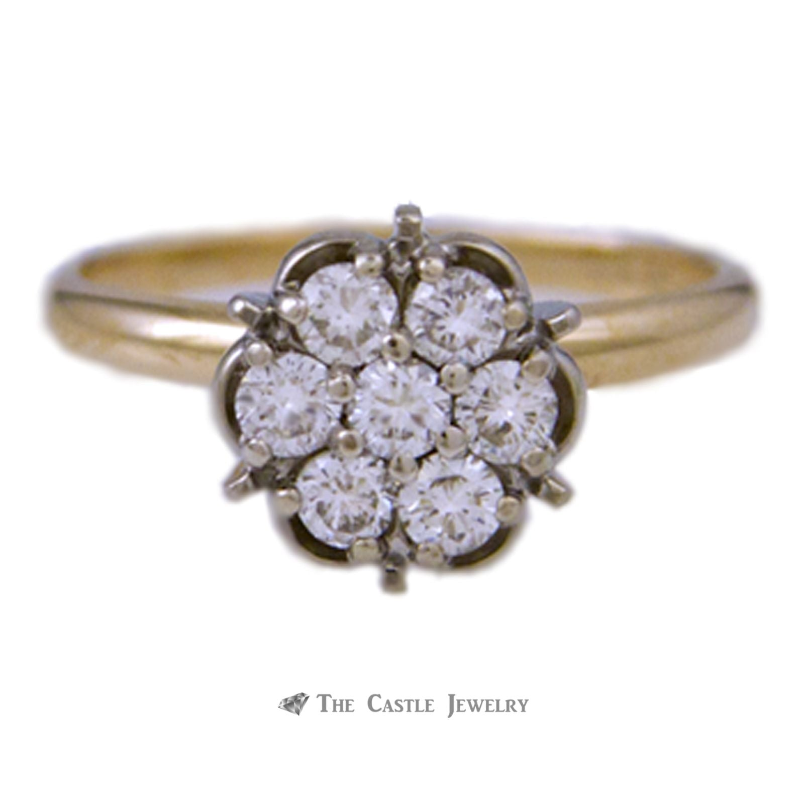 1/2cttw 7 Diamond Cluster Ring w/ Round Diamonds in 14K Gold