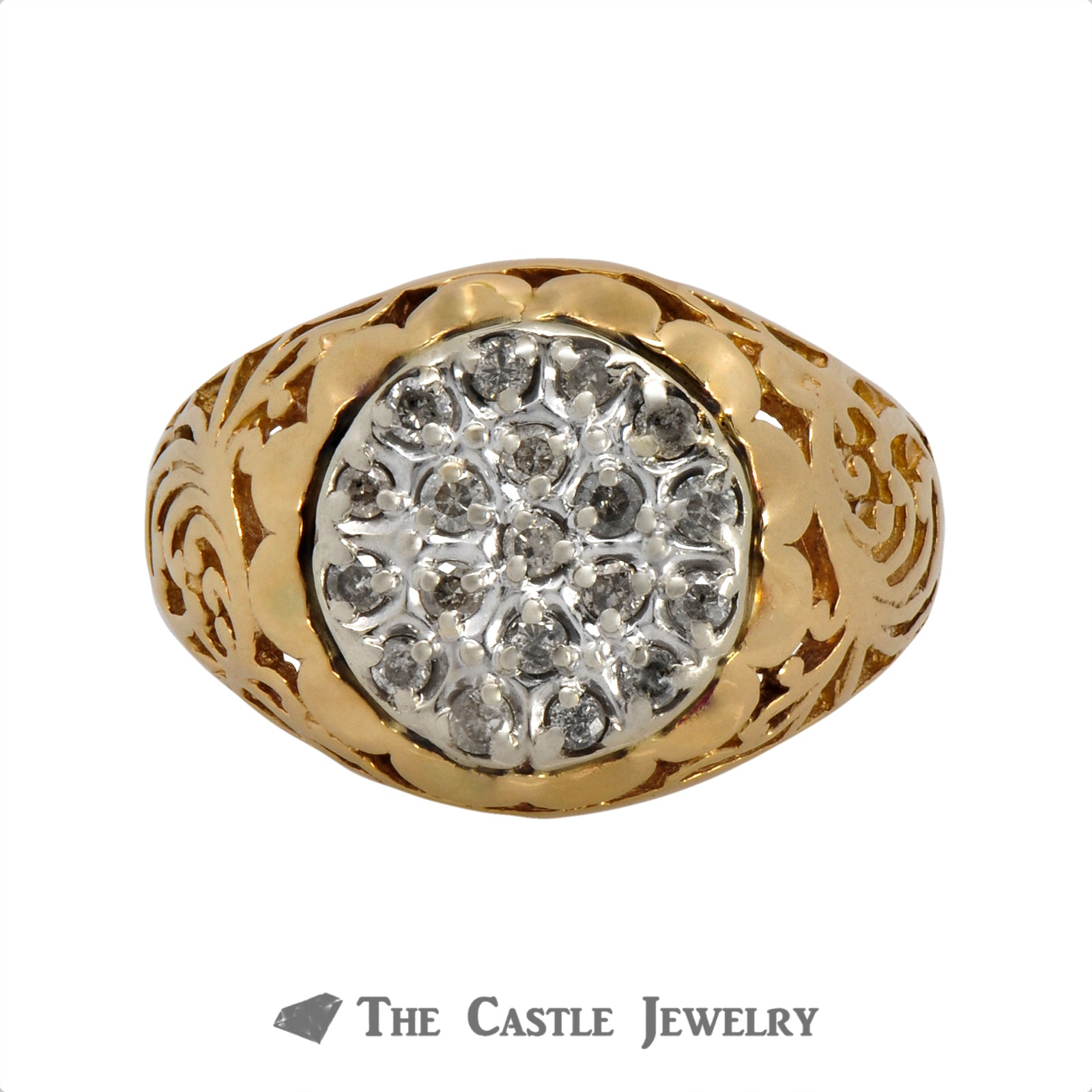 19 Diamond Kentucky Cluster Ring in 10K Yellow Gold