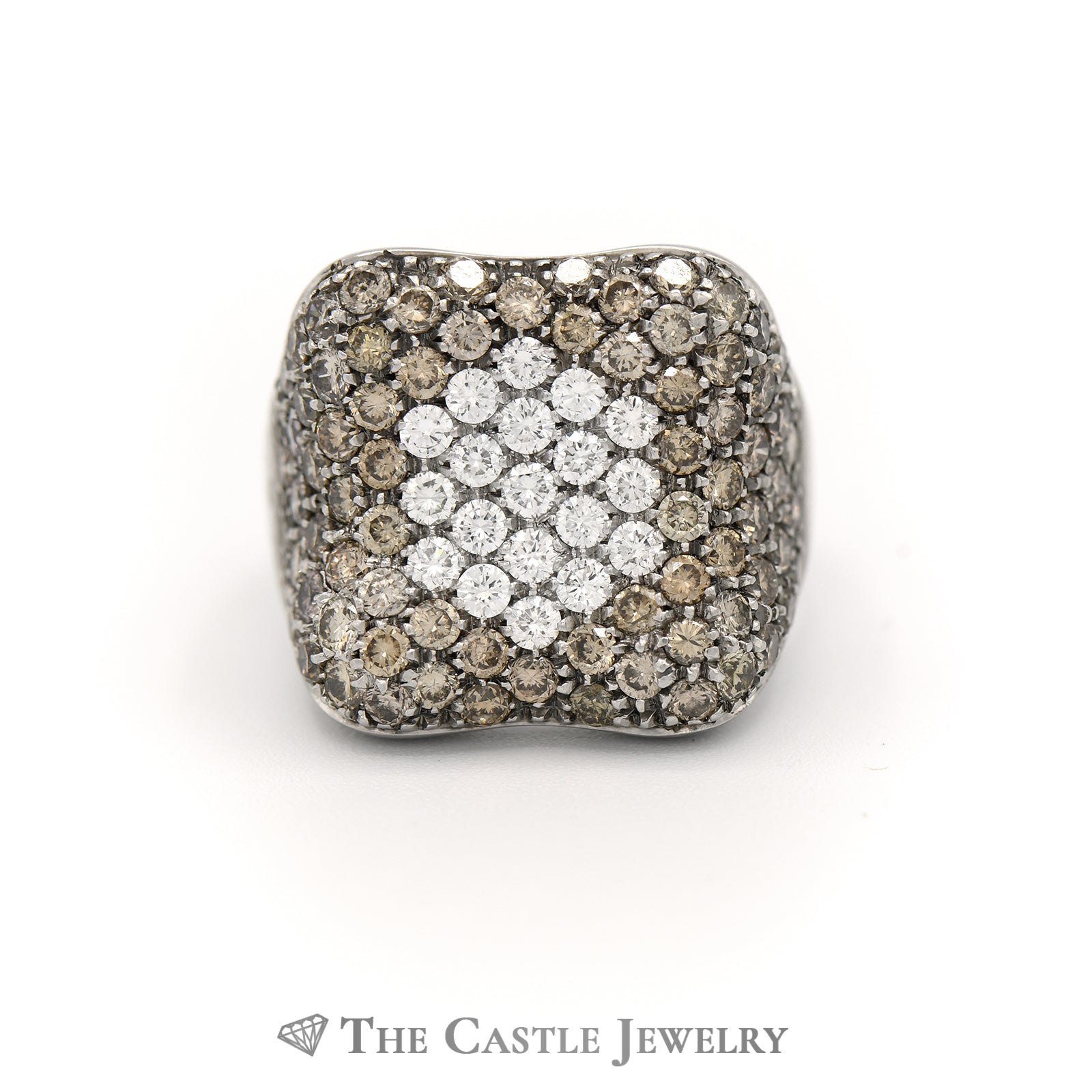 Concave Design Cluster Ring 3.50cttw Pave Set Round White & Champagne Diamonds
