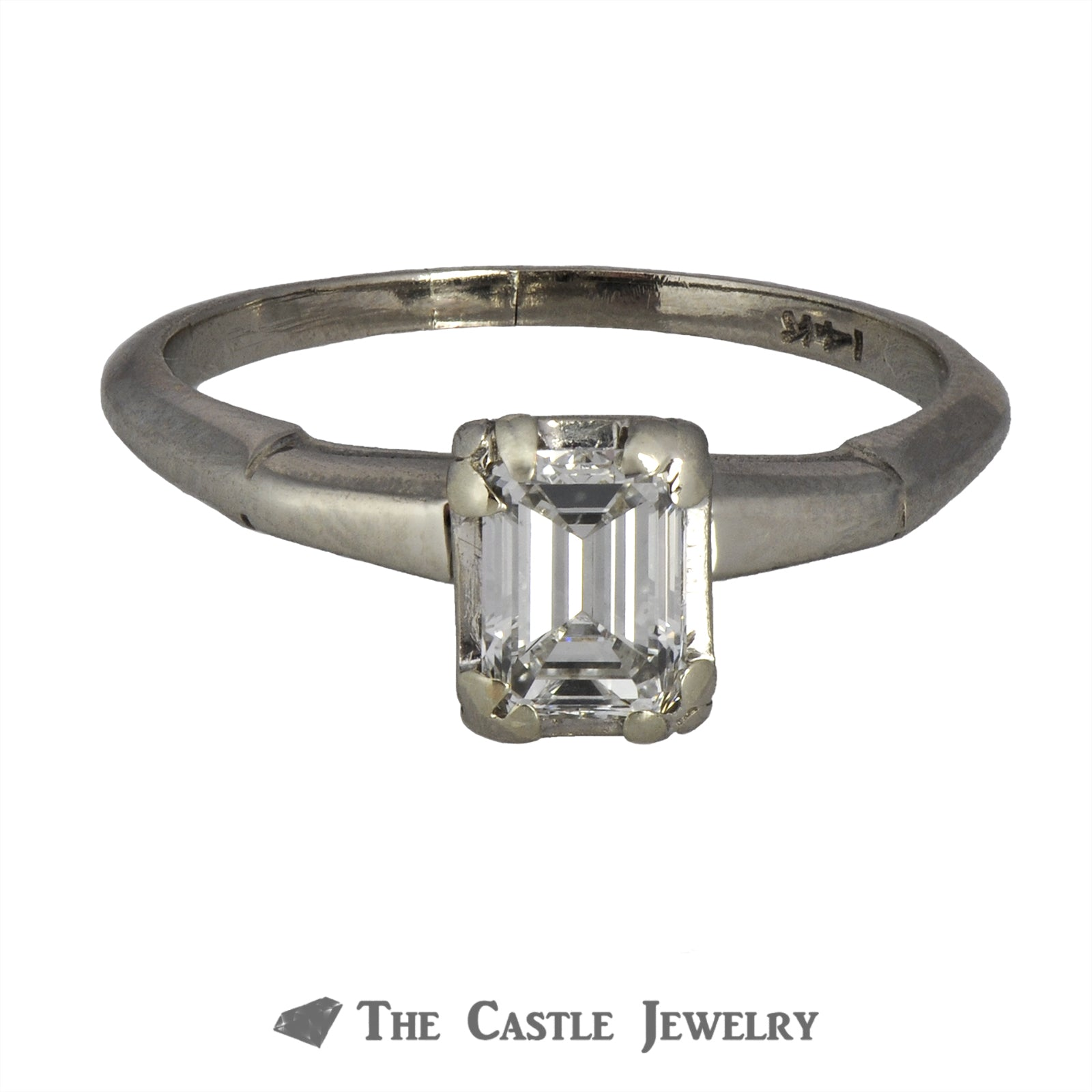 Emerald Cut .50ct VS2 G/H Diamond Engagement Ring in 14K White Gold