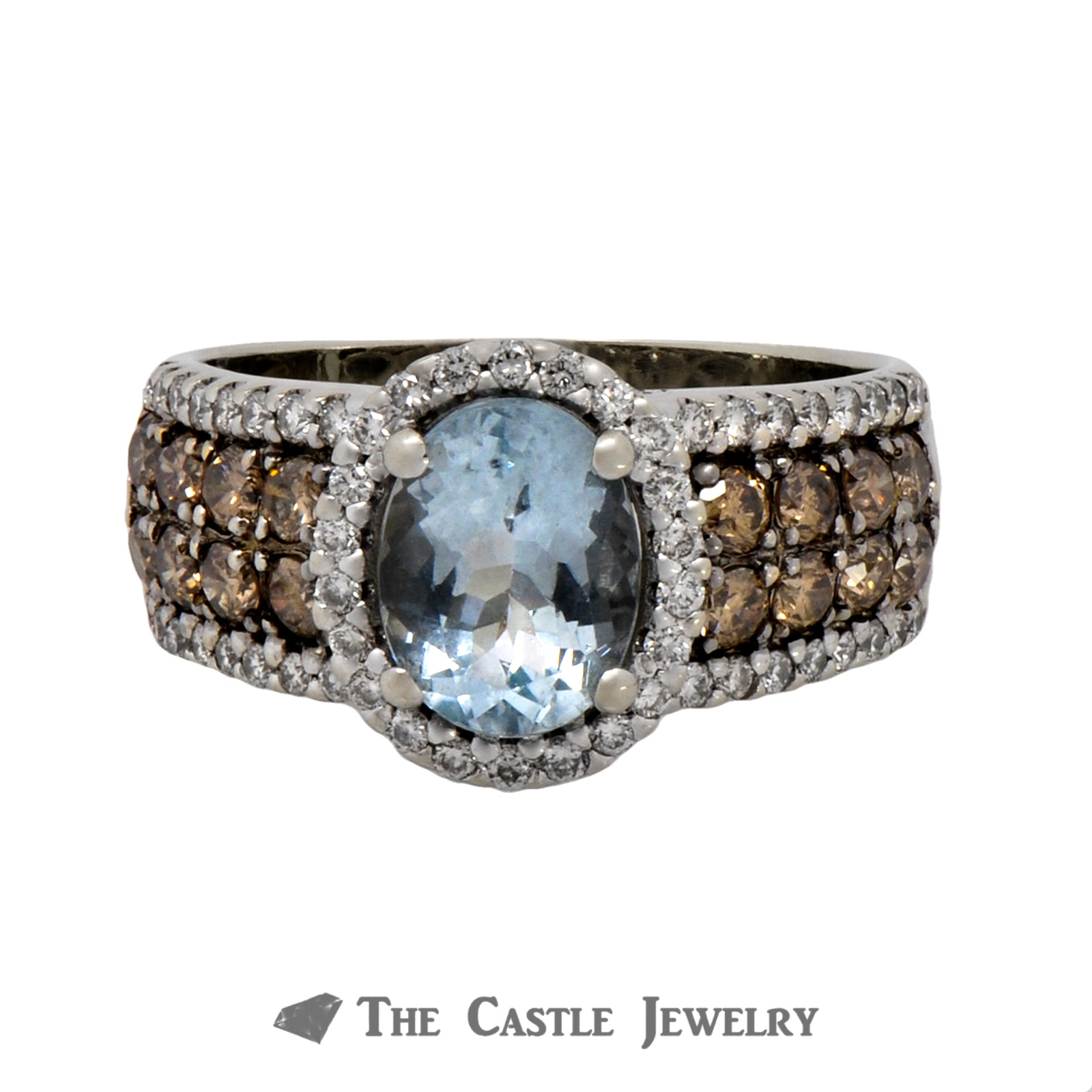 Le Vian Oval Aquamarine Ring with Diamond Halo and Chocolate & White Diamond Accents