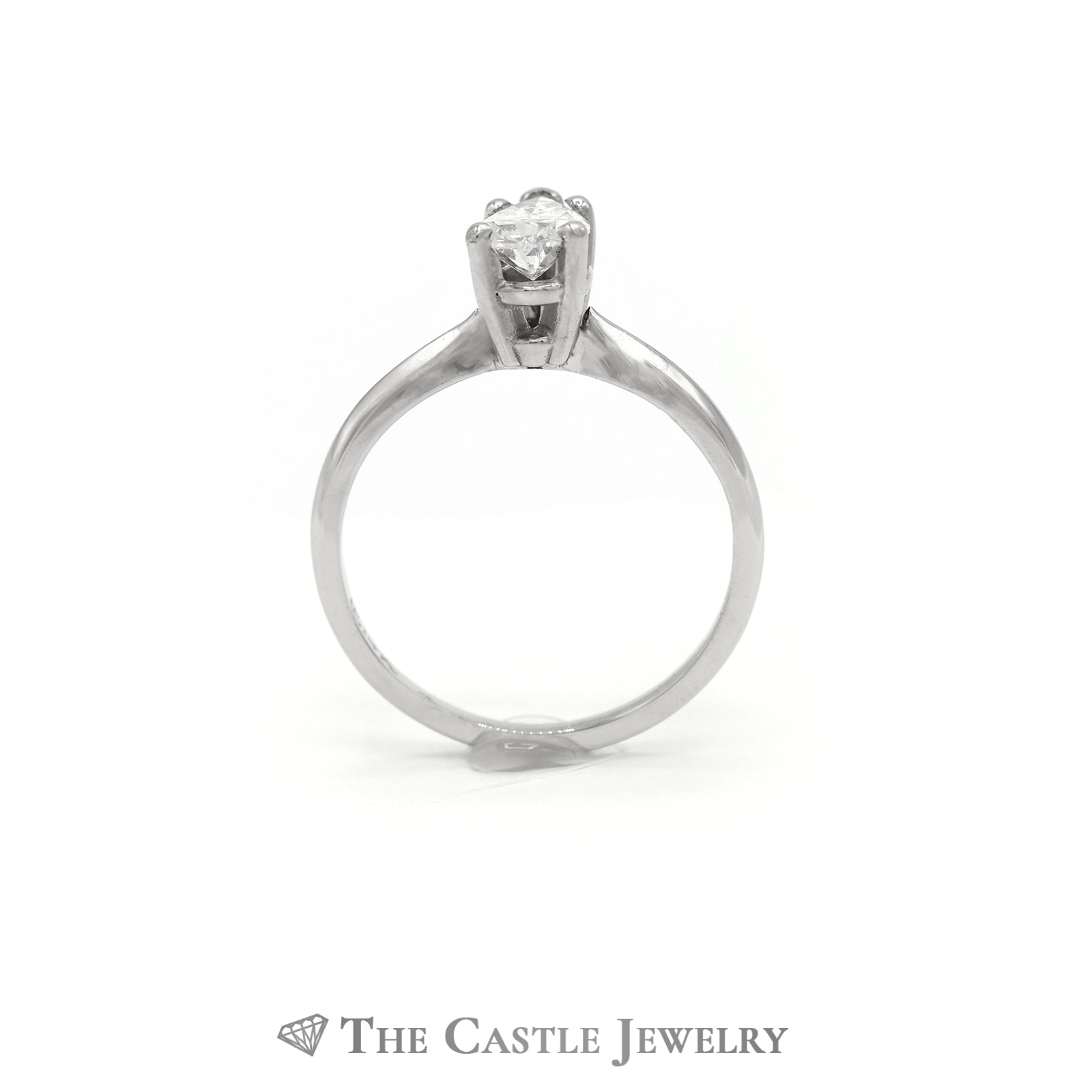 Pear Cut Diamond Solitaire Engagement Ring in 14K White Gold-1