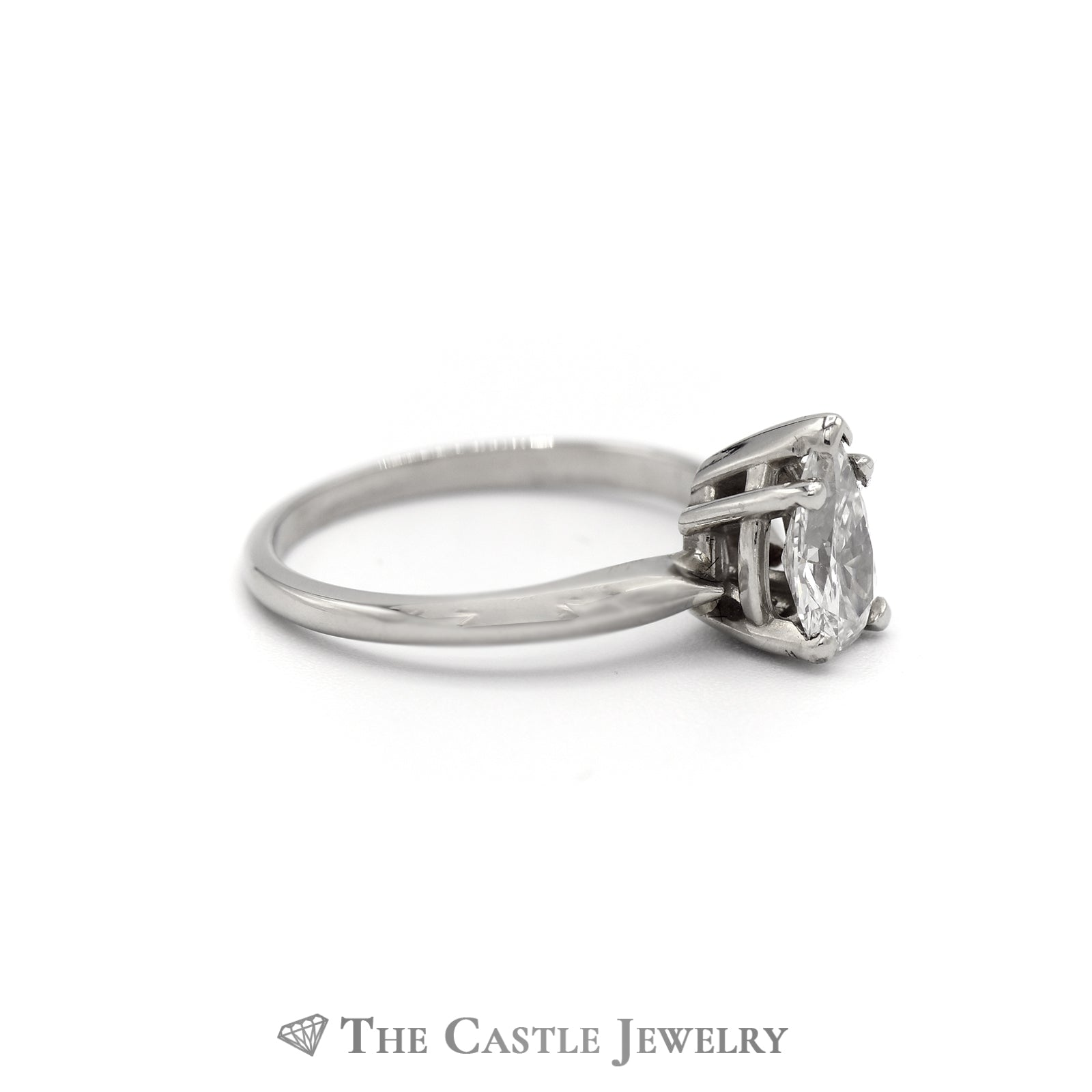 Pear Cut Diamond Solitaire Engagement Ring in 14K White Gold-2