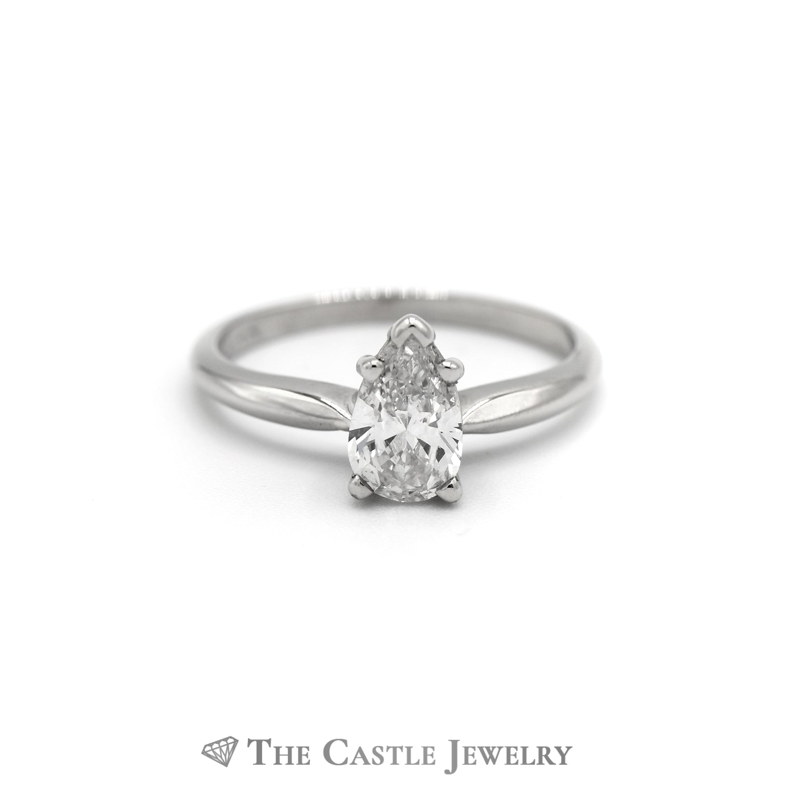 Pear Cut Diamond Solitaire Engagement Ring in 14K White Gold