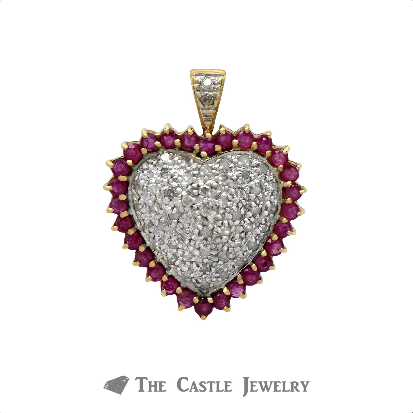 Ruby and .50cttw Diamond Cluster Heart Shaped Pendant in 10k Yellow Gold