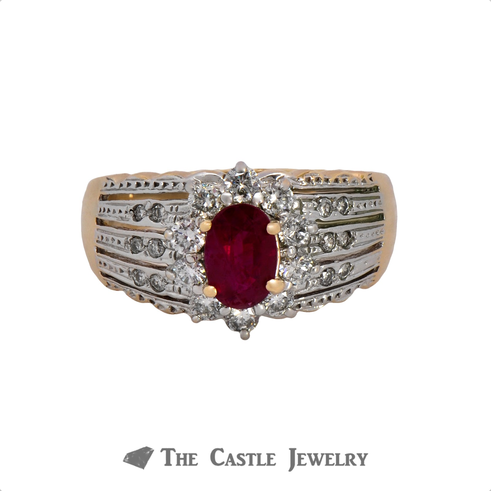 Le Vian Oval Ruby Ring with .50cttw Diamond Halo & Accents in 14k Yellow Gold