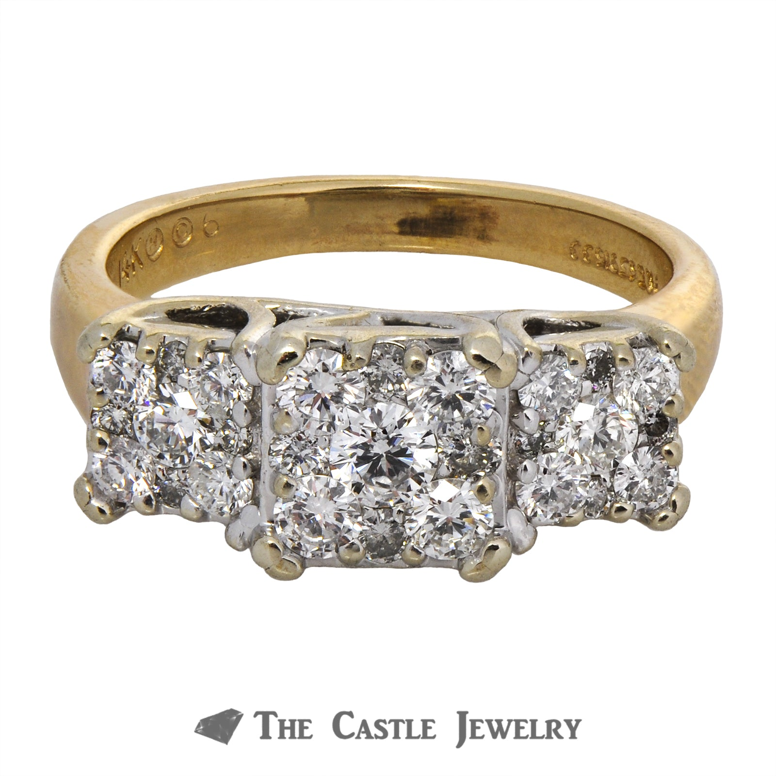 Square Cluster Engagement Ring 1cttw in 14K Yellow Gold