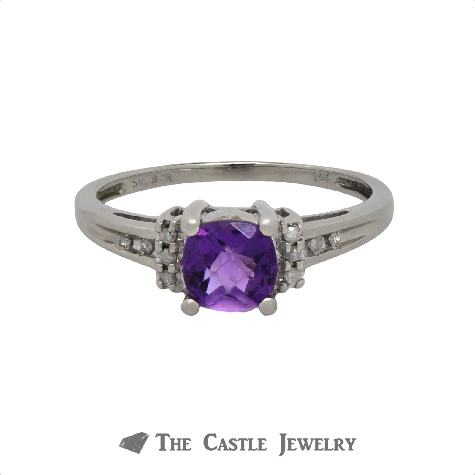 Fantasy Cut Amethyst Ring with Diamond Accents in 10K White Gold