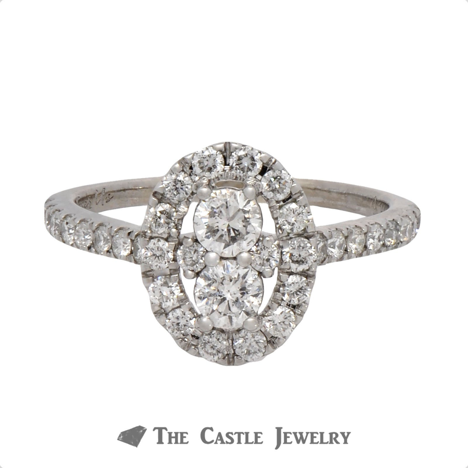 Double Diamond Halo Ever Us Engagement Ring with Diamond Accents in 14k White Gold
