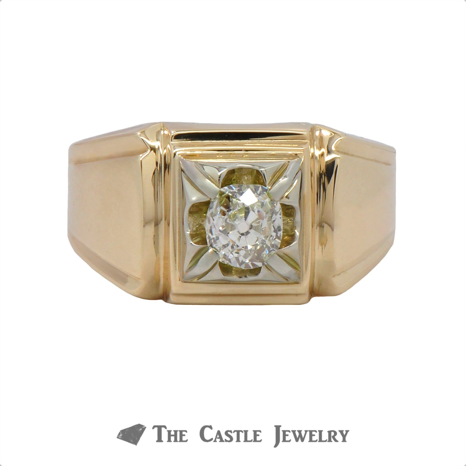 .50 Carat Old Mine Cut Gent's Diamond Ring In 14k Yellow Gold