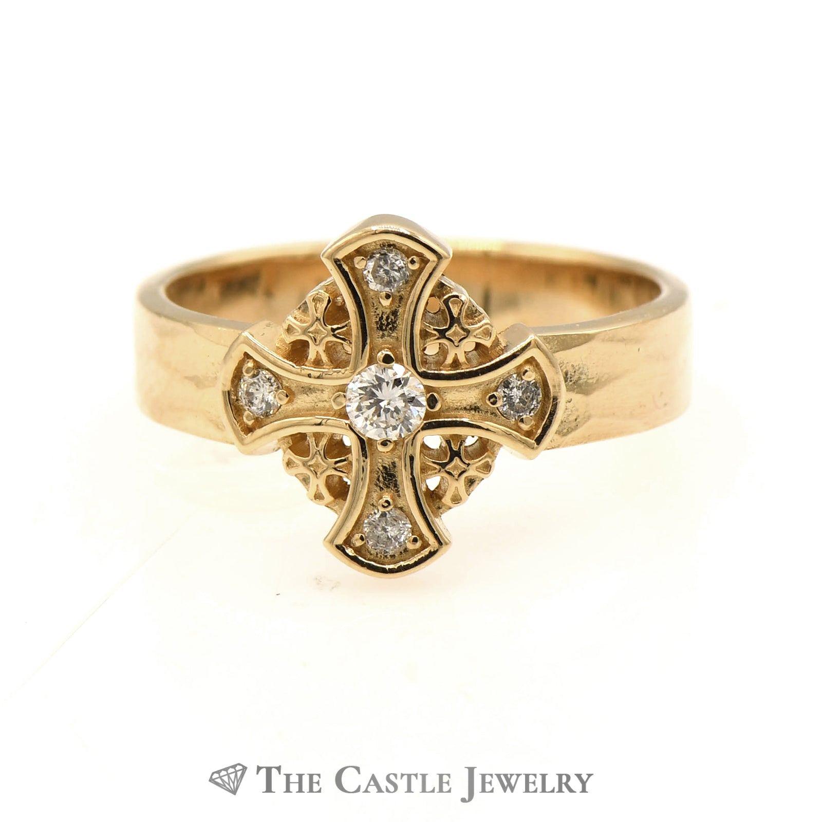 Gent's Five Fold Cross Ring 14KT Yellow Gold With .25 CTTW Diamonds