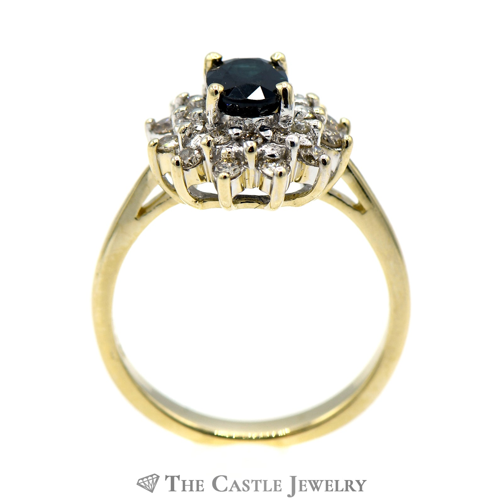 Dark Blue Sapphire Ring Surrounded by Layered Diamond Halo-1