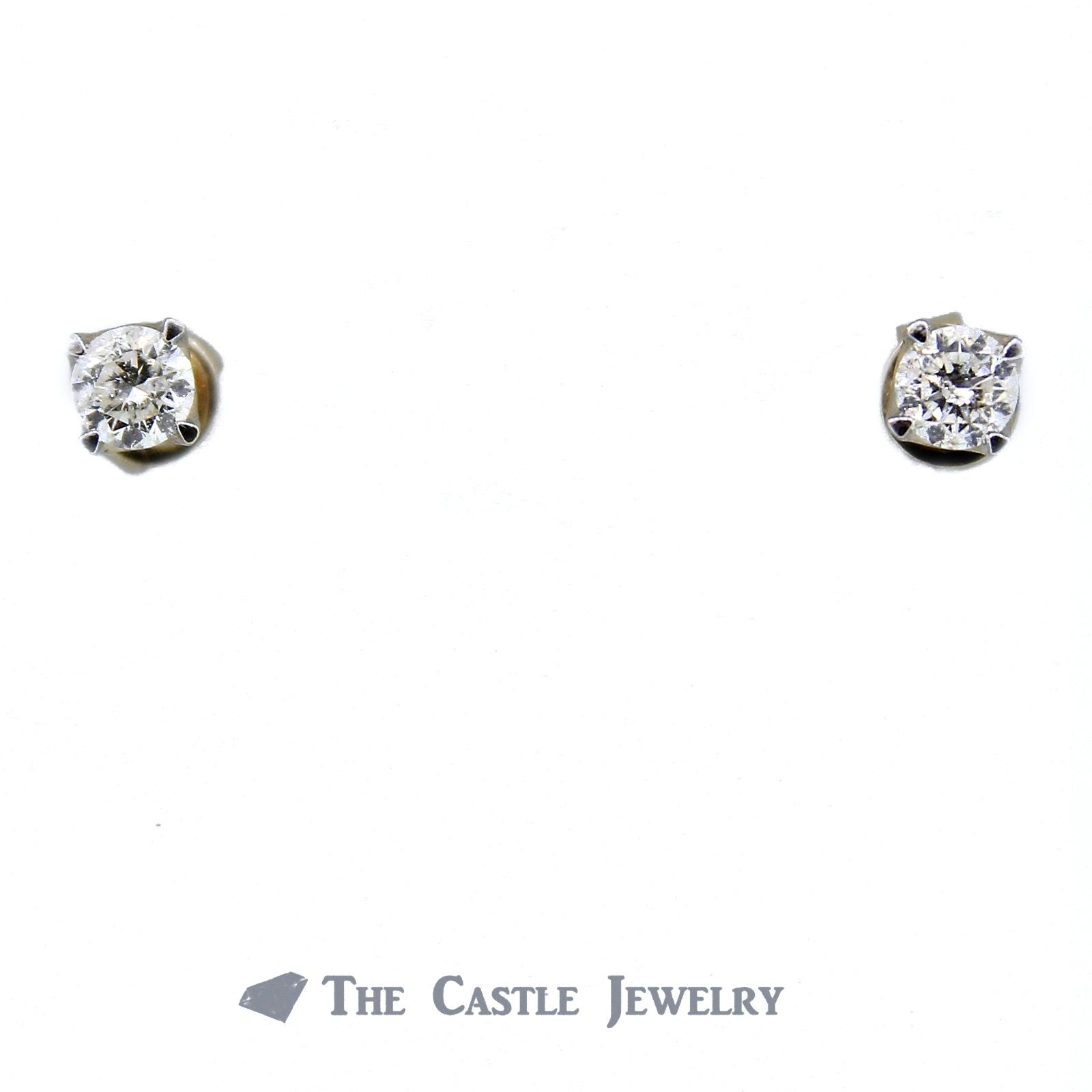 Diamond Stud Earrings 1/2cttw with Screw Backs in 14K Yellow Gold-0