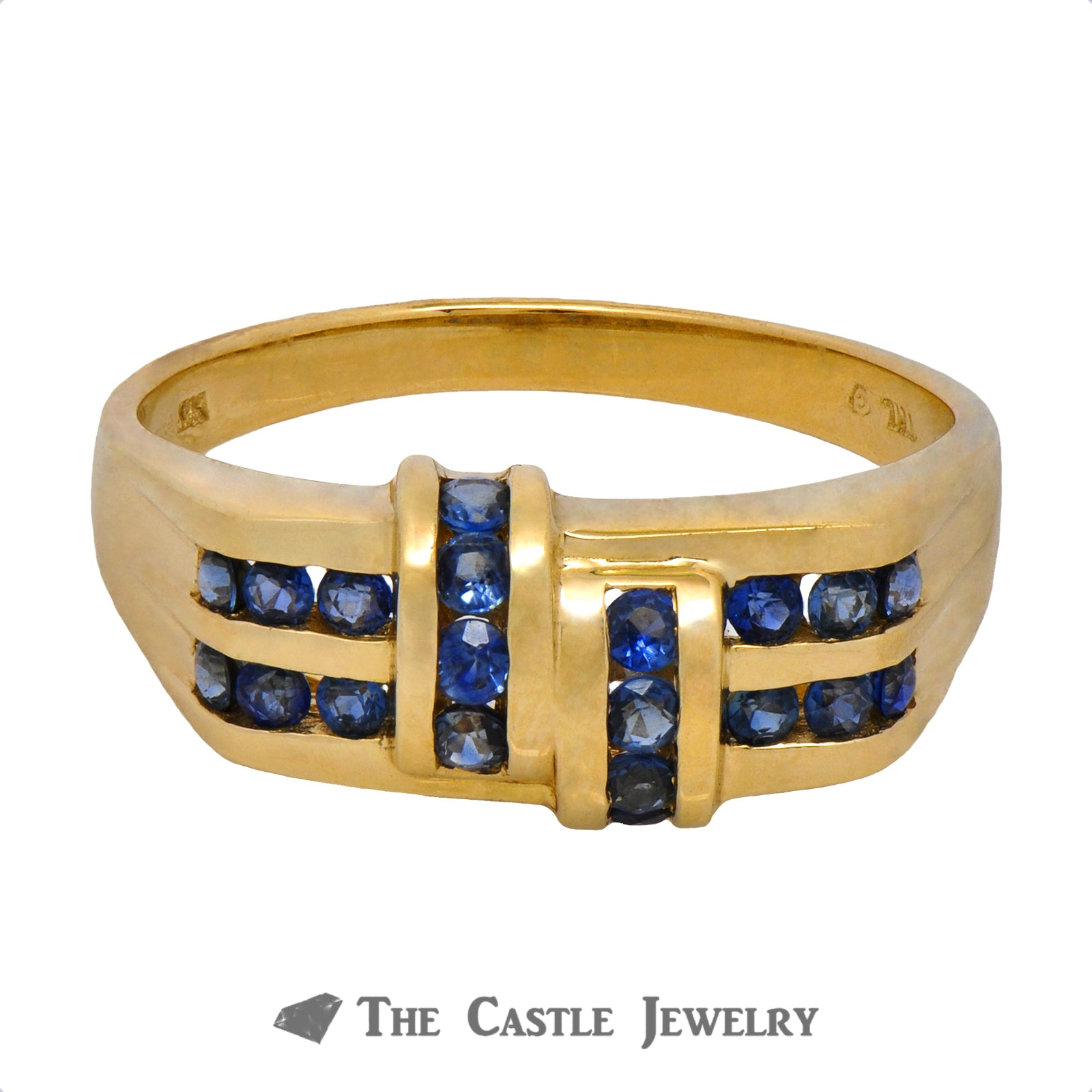 Unique Yellow Gold Ring with Rows of Sapphires